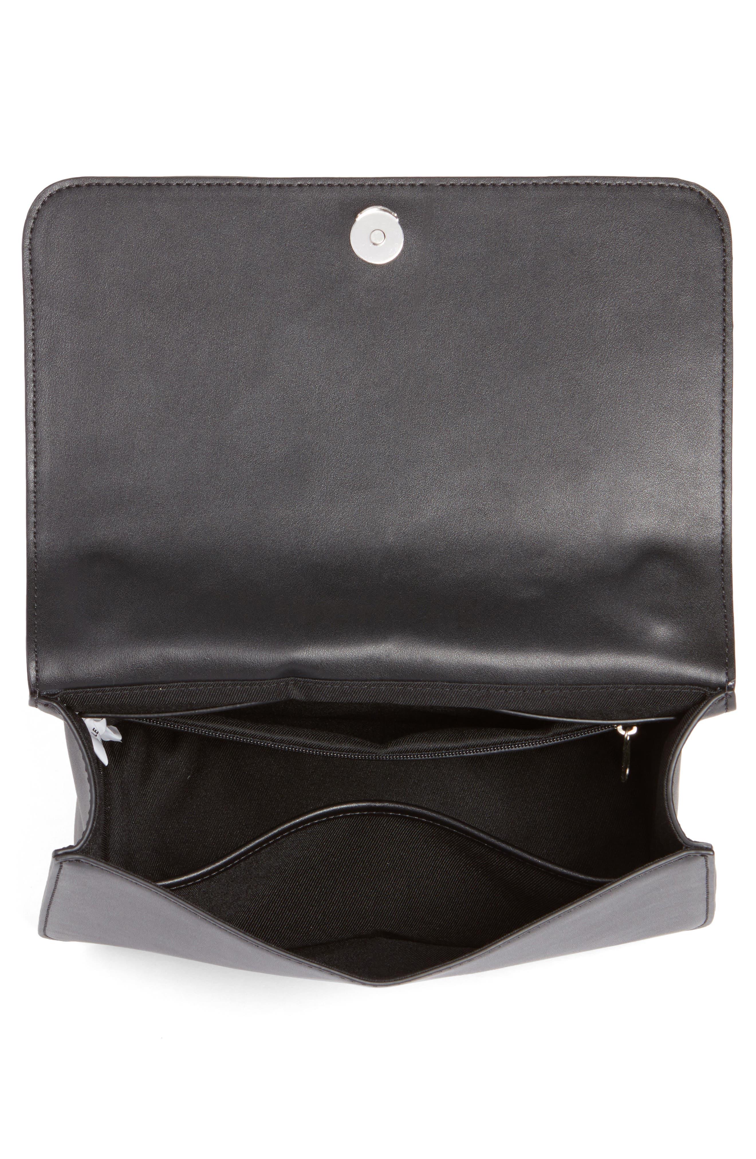 Dahlia Perforated Faux Leather Shoulder Bag,                             Alternate thumbnail 4, color,                             001