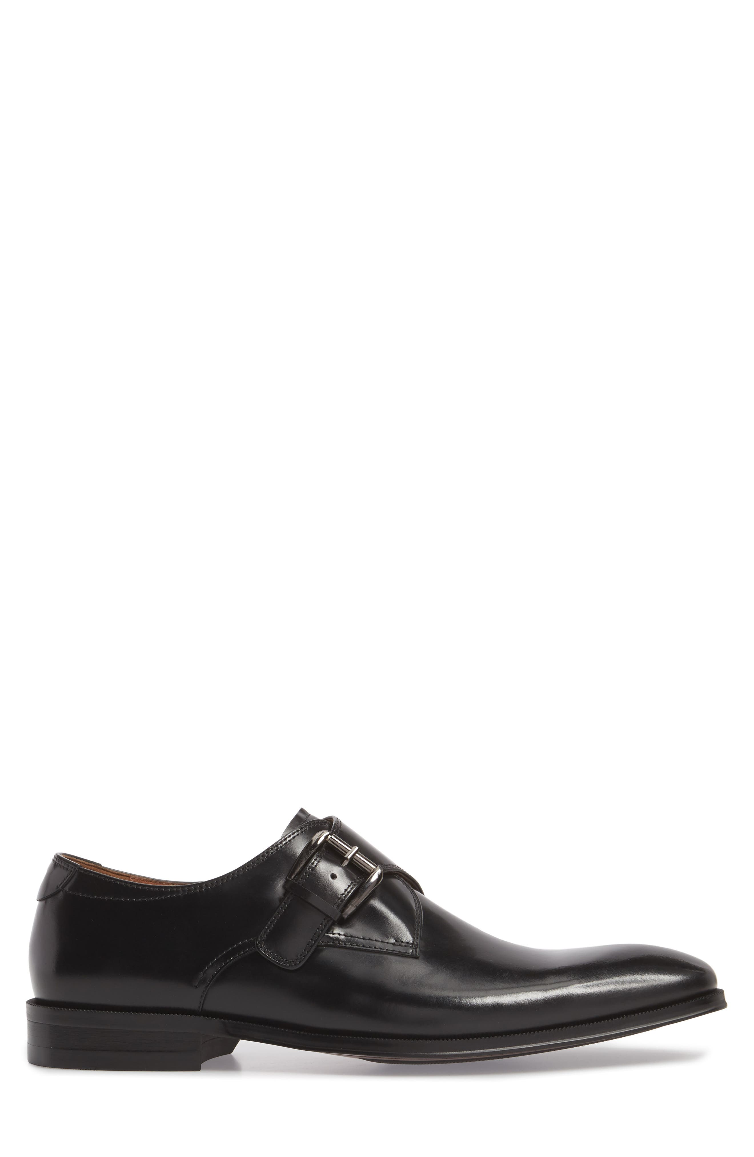 Belfast Single Strap Monk Shoe,                             Alternate thumbnail 3, color,                             BLACK LEATHER