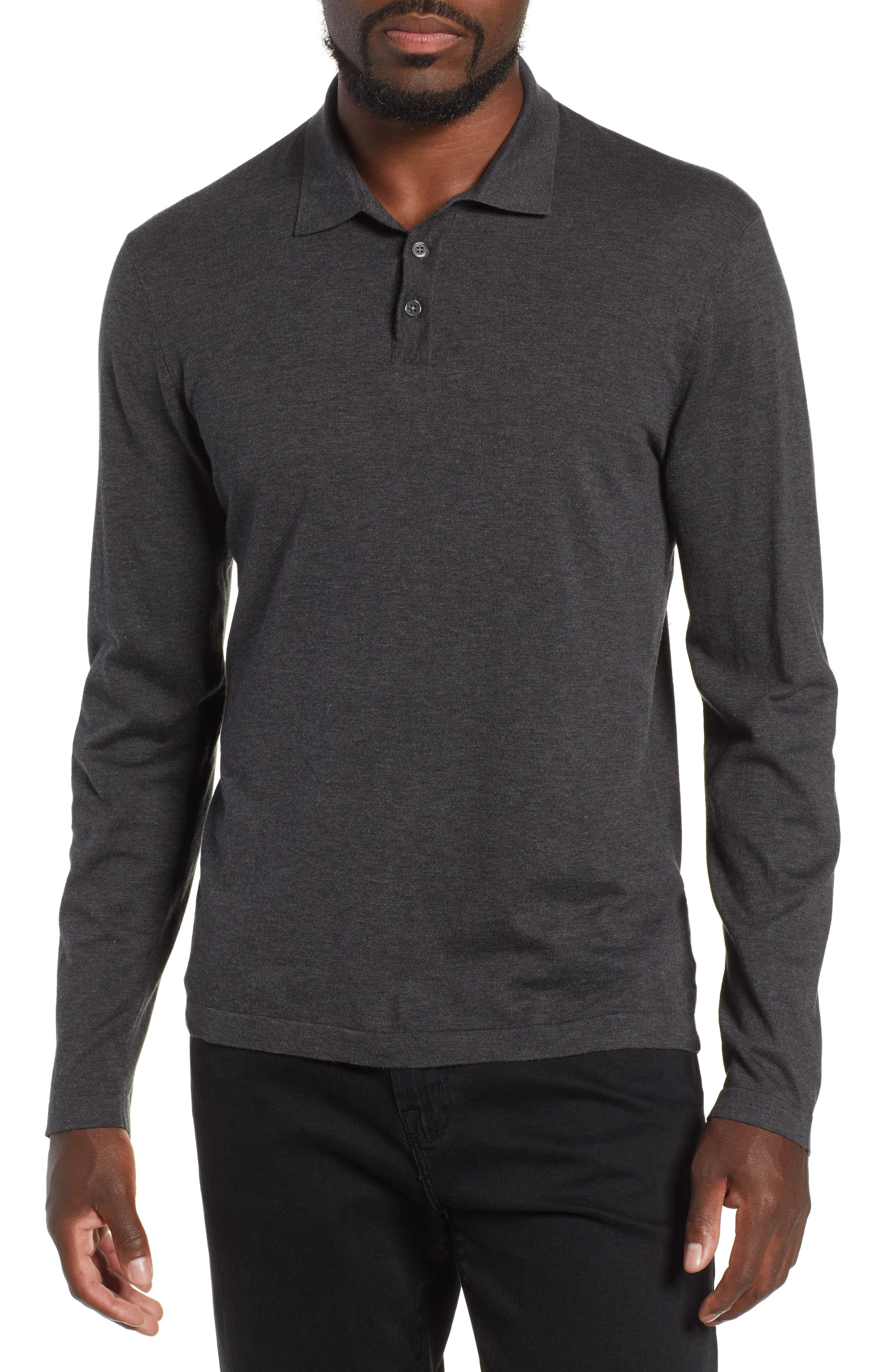 Fine Gauge Regular Fit Cotton Polo,                             Main thumbnail 1, color,                             HEATHER CHARCOAL