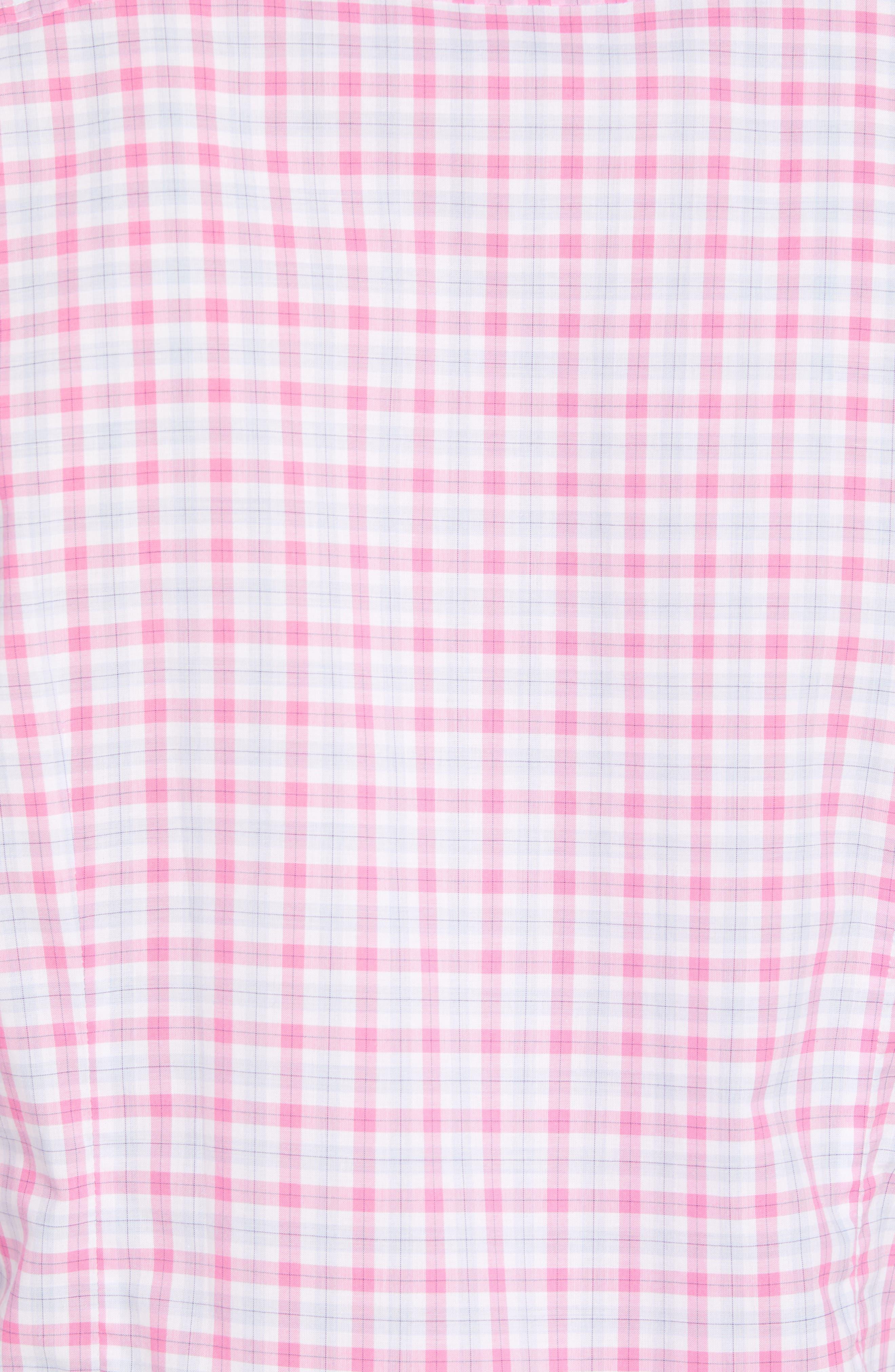 Slim Fit Grid Sport Shirt,                             Alternate thumbnail 5, color,                             MEDIUM PINK