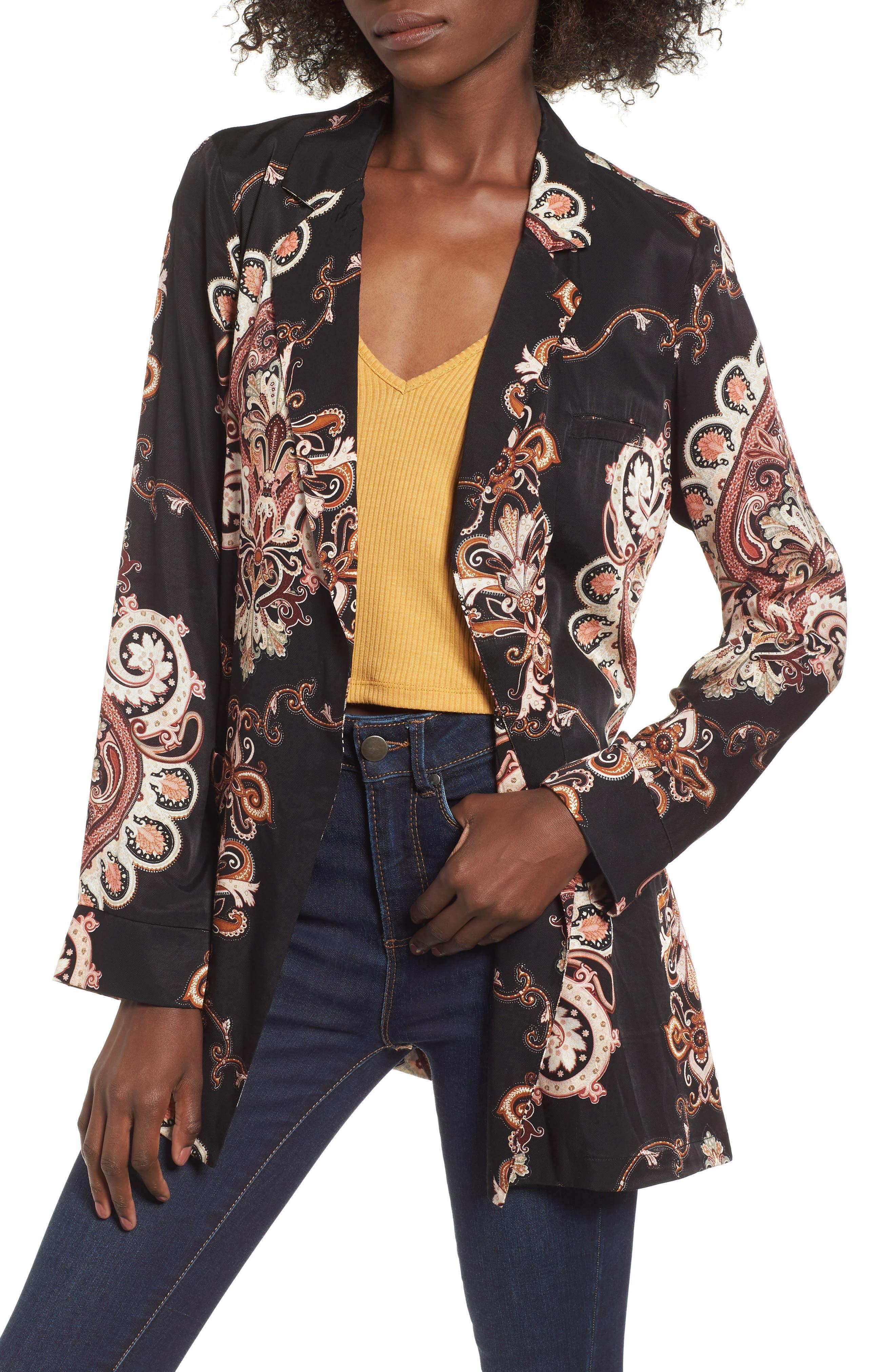 Blake Print Wrap Jacket,                         Main,                         color, NOIR PAISLEY