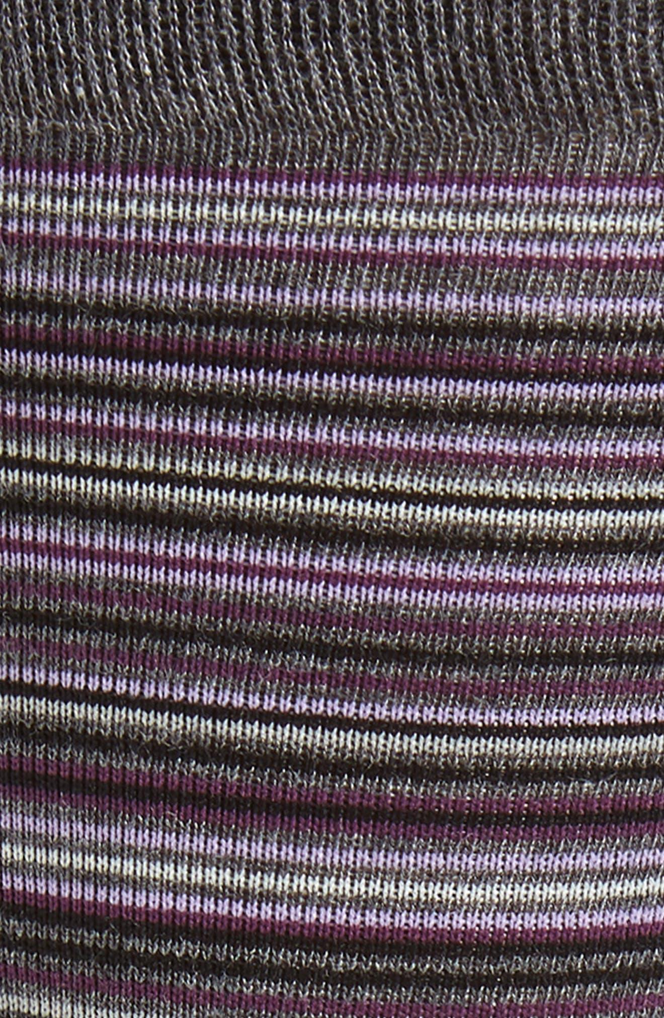 Multistripe Crew Socks,                             Alternate thumbnail 2, color,                             CHARCOAL HEATHER/ PURPLE