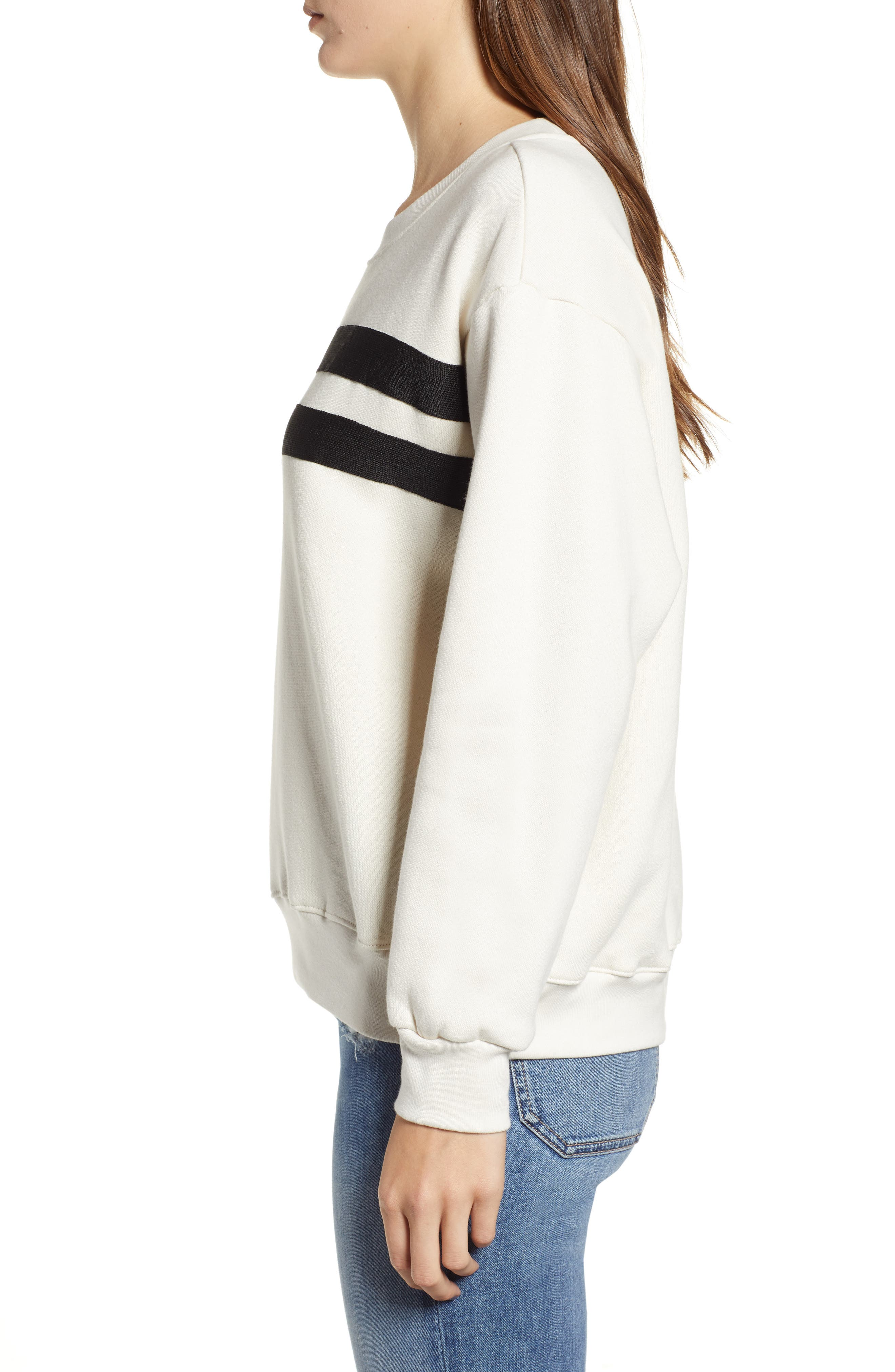 Side Zip Stripe Pullover,                             Alternate thumbnail 3, color,                             100