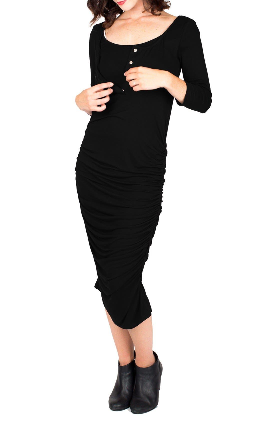 Nom Henley Maternity Dress,                             Alternate thumbnail 7, color,                             BLACK