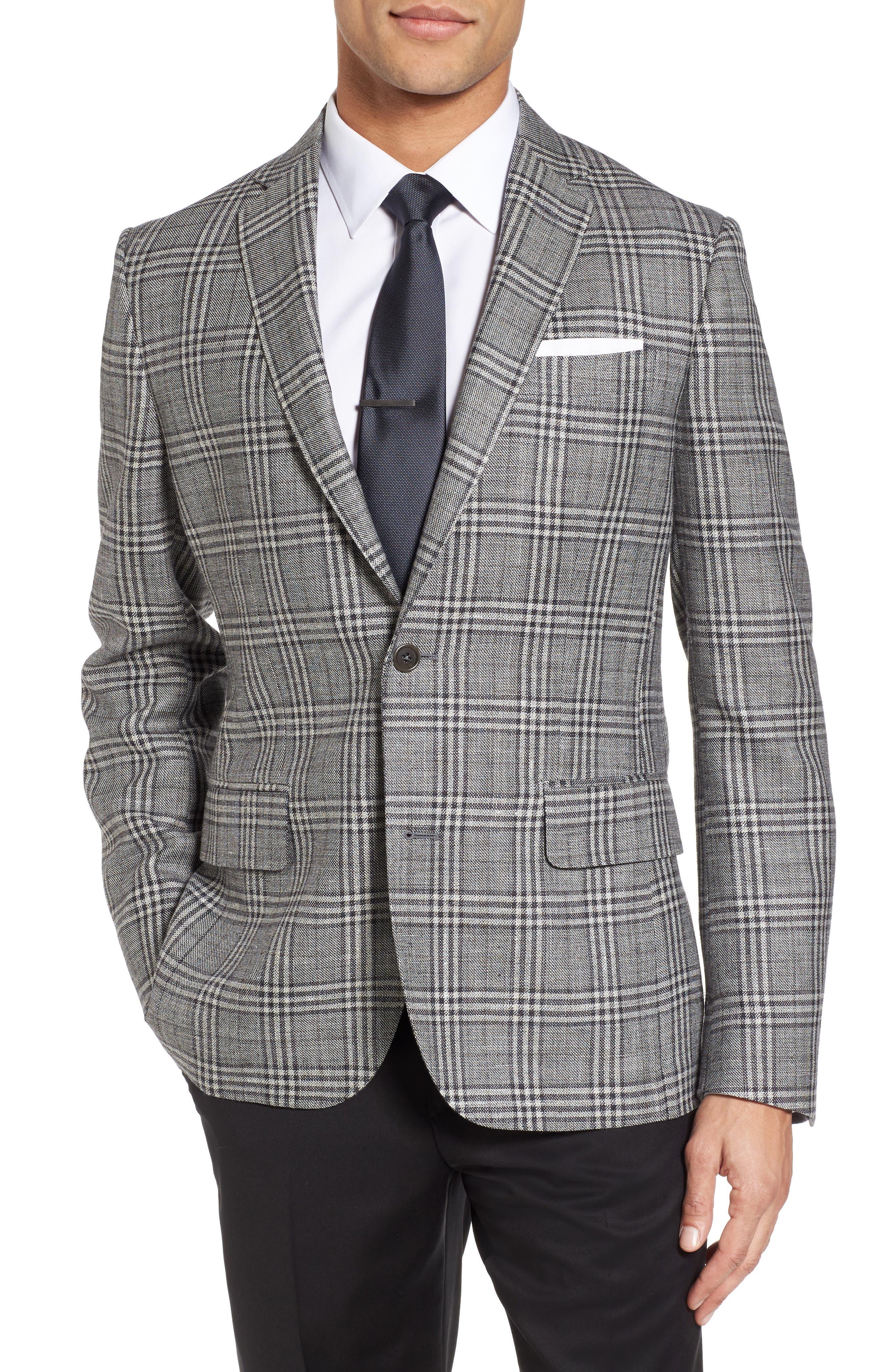Trim Fit Plaid Wool Blend Sport Coat,                             Main thumbnail 1, color,                             030