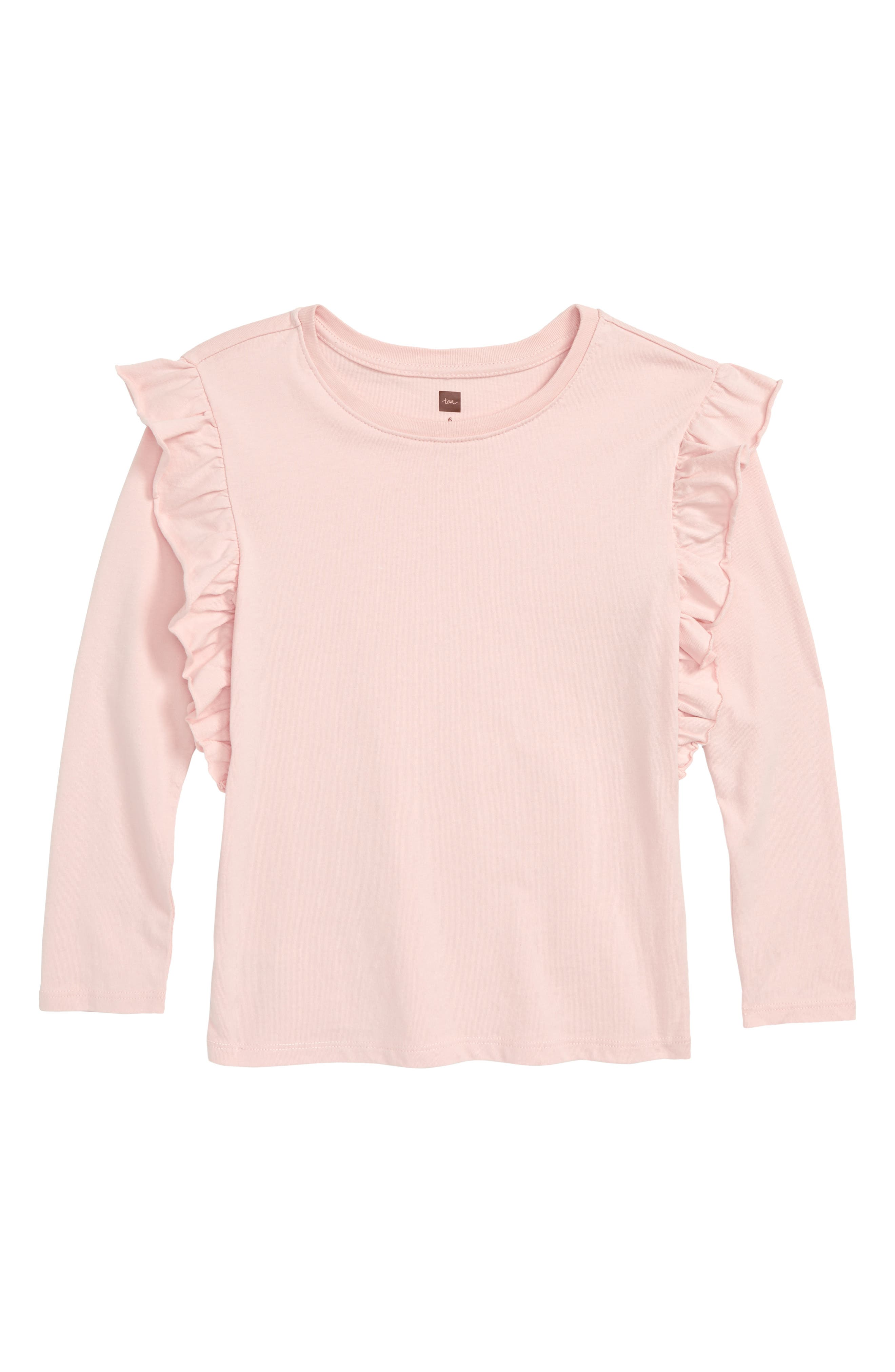 Ruffle Sleeve Top,                         Main,                         color, PINK SOLID