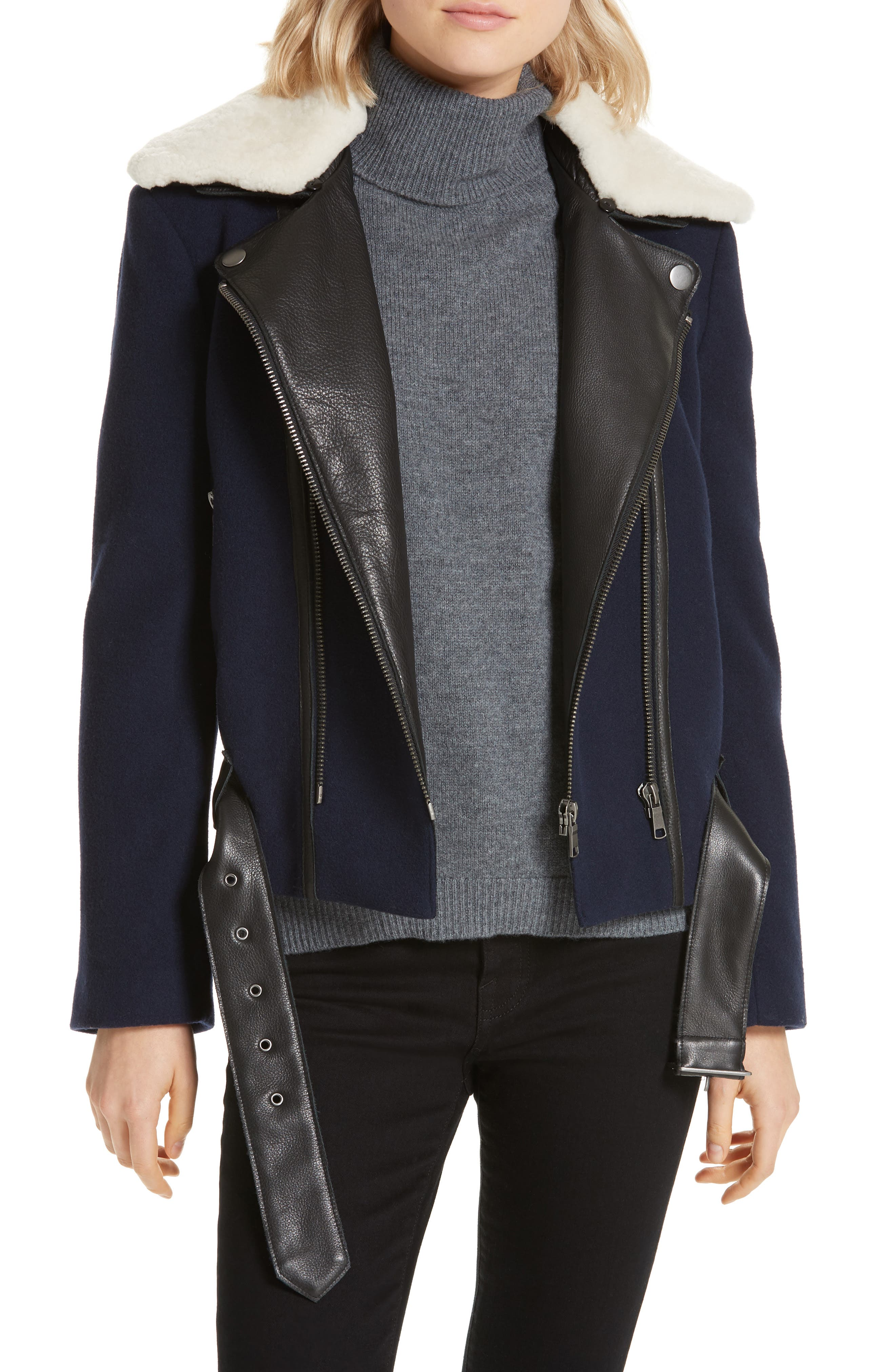 Joie Fayana Genuine Shearling & Leather Trim Moto Jacket, Blue