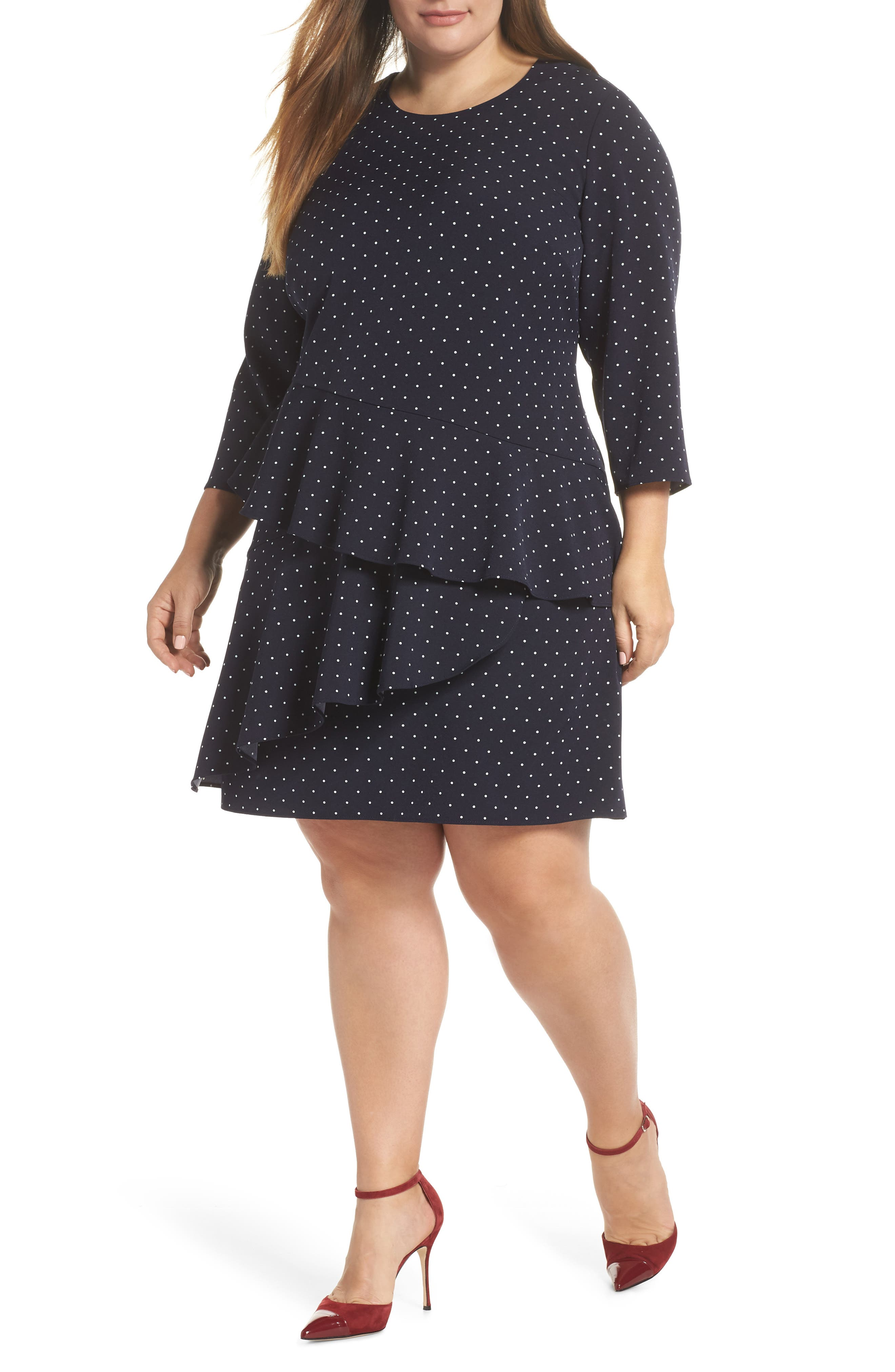 Plus Size Eliza J Tiered Dropped Waist Dress, Blue