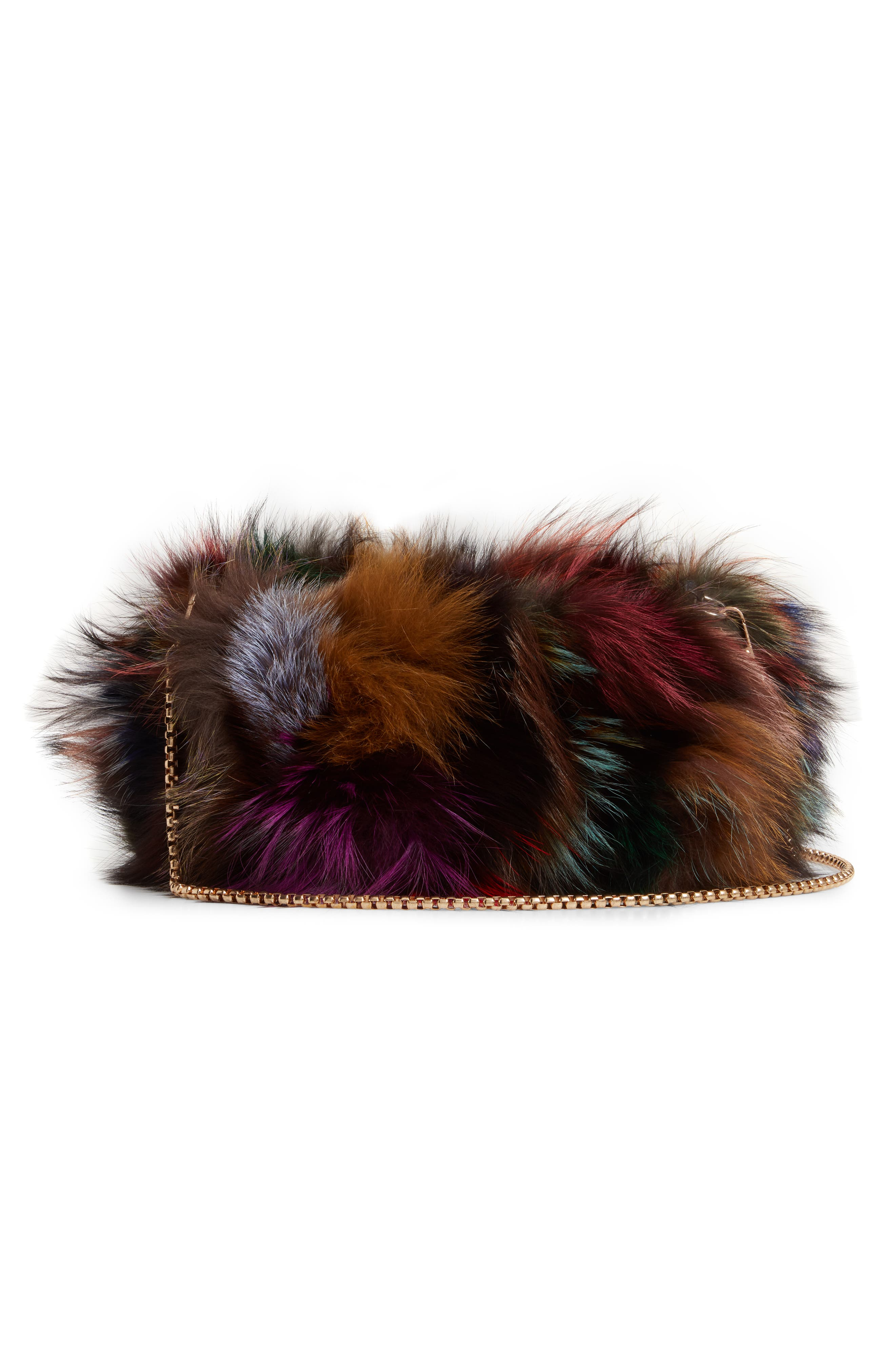 Elmo Genuine Silver Fox Fur Shoulder Bag,                             Alternate thumbnail 4, color,                             BLUE MULTI