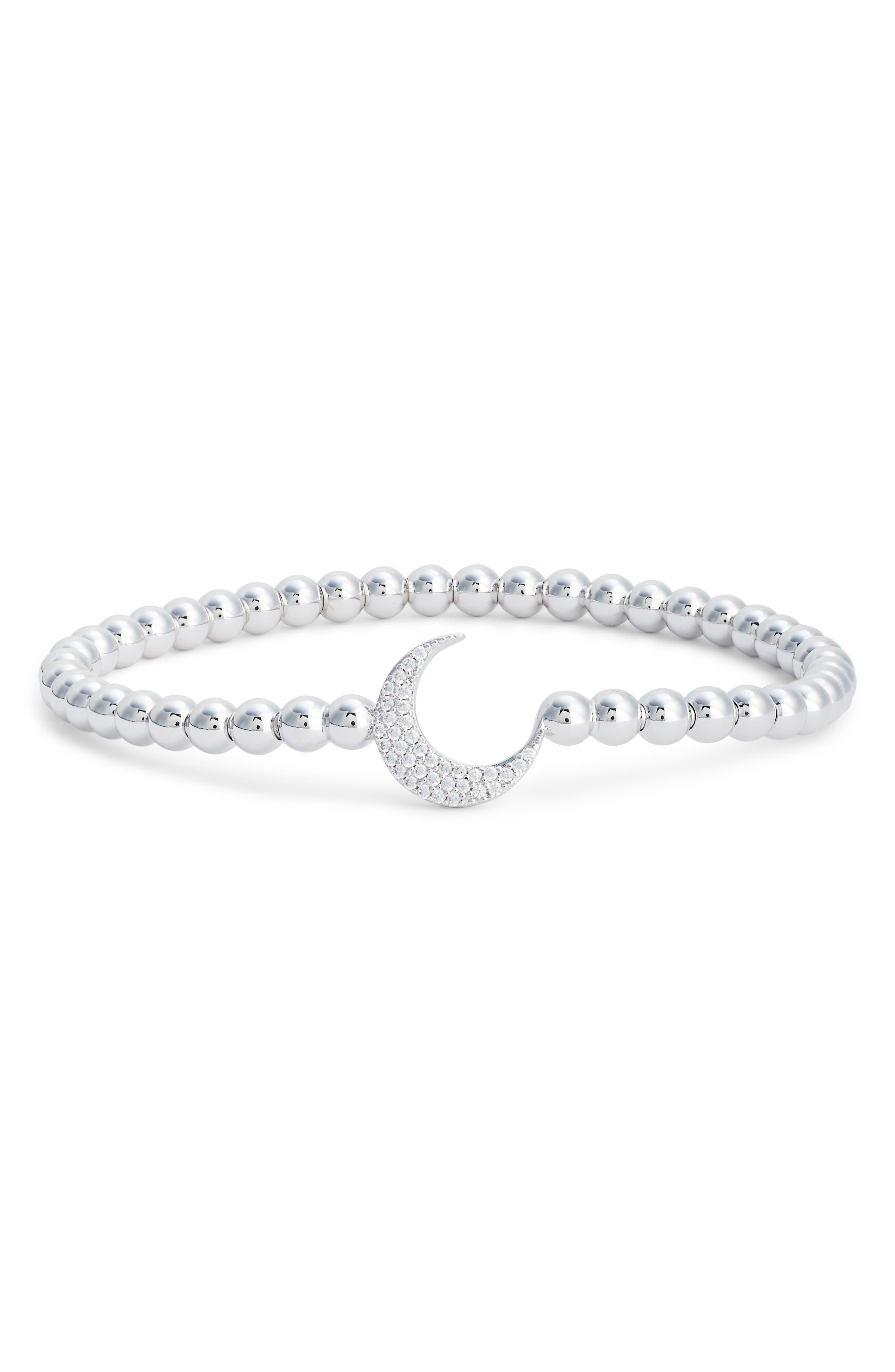 Cubic Zirconia Crescent Moon Circle Bracelet,                             Main thumbnail 1, color,                             SILVER