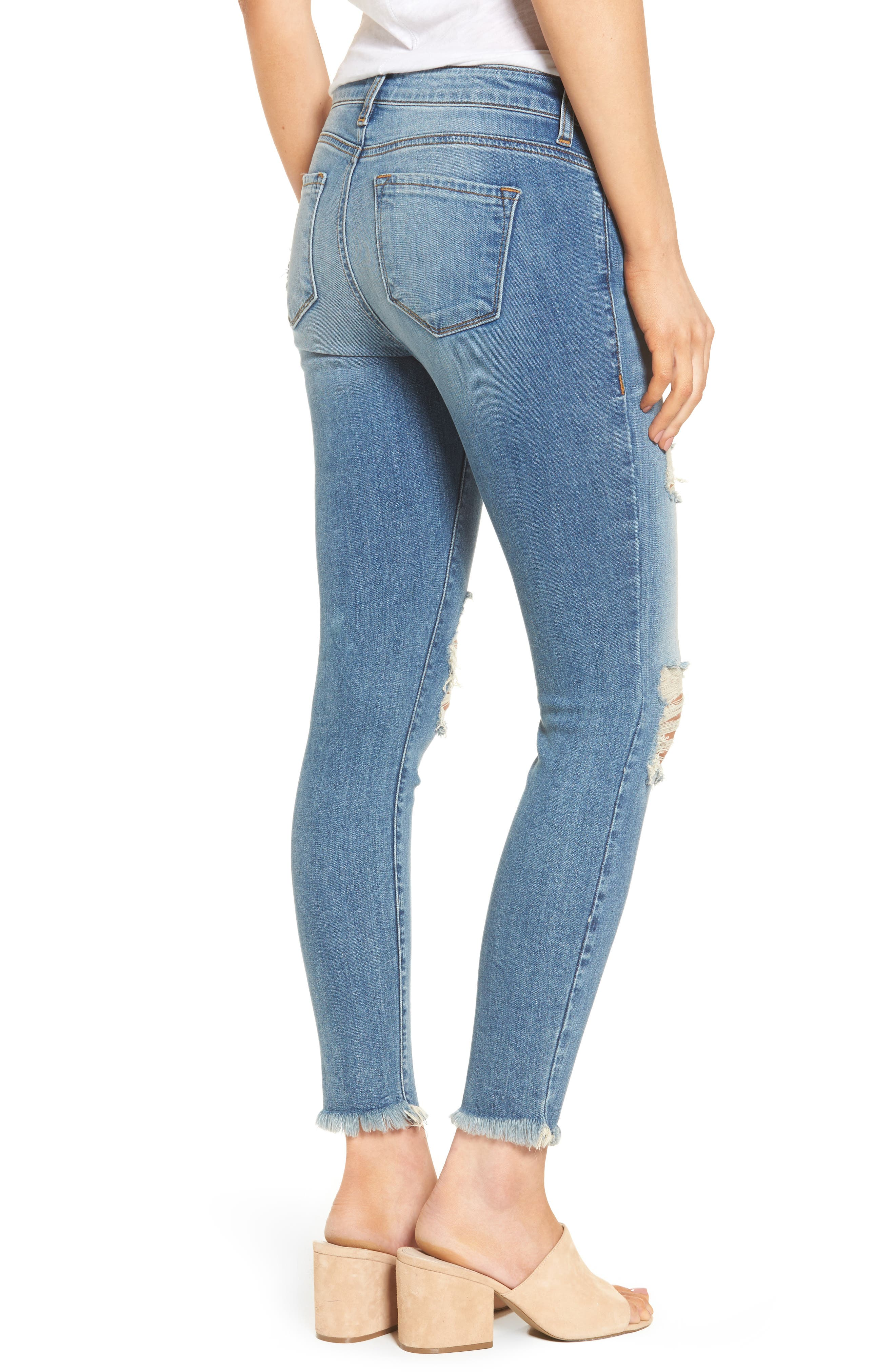 Ripped Crop Skinny Jeans,                             Alternate thumbnail 2, color,