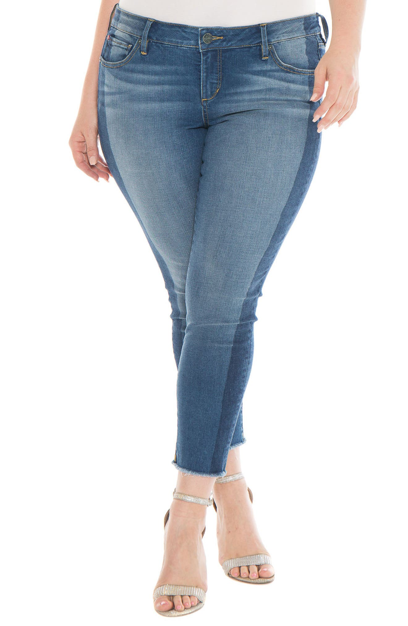 Shadow Mix Frayed Ankle Jeans,                         Main,                         color, GWEN