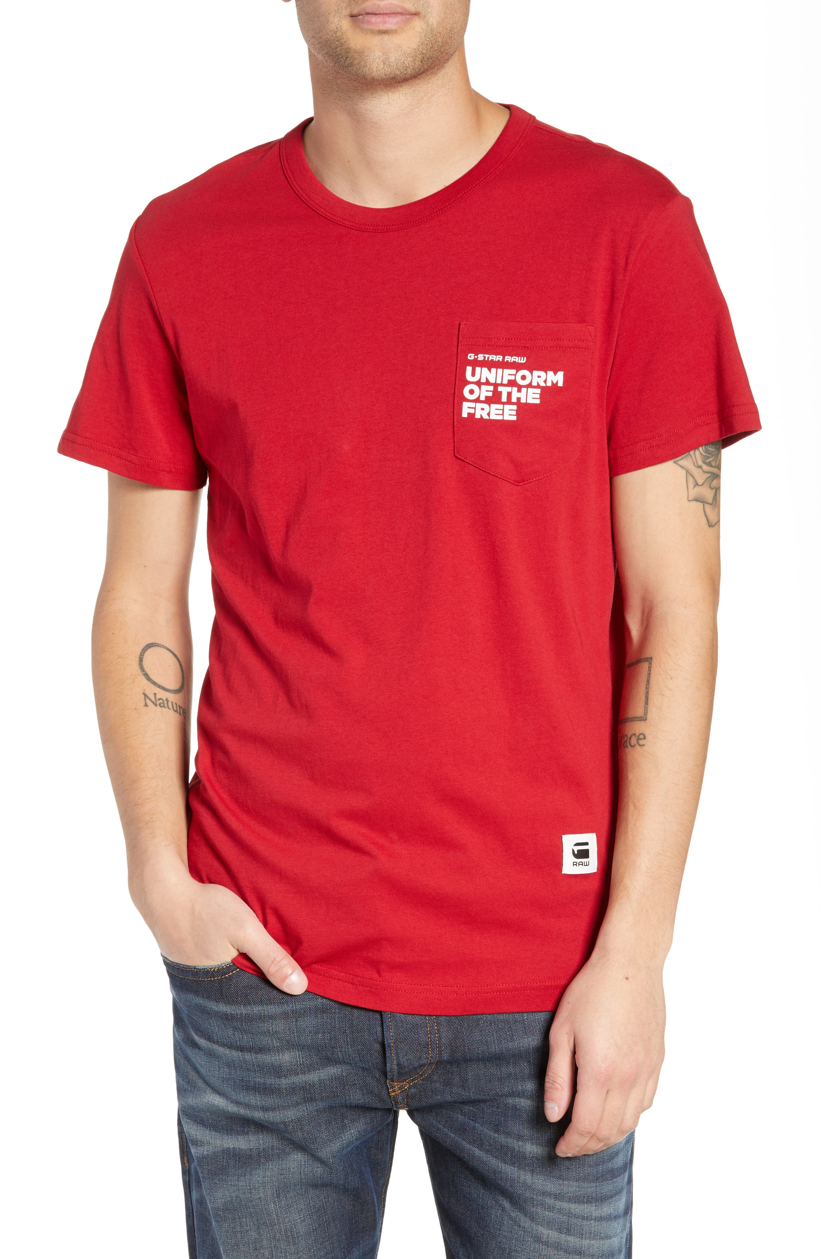 UOTF Pocket T-Shirt,                         Main,                         color, CHILI RED