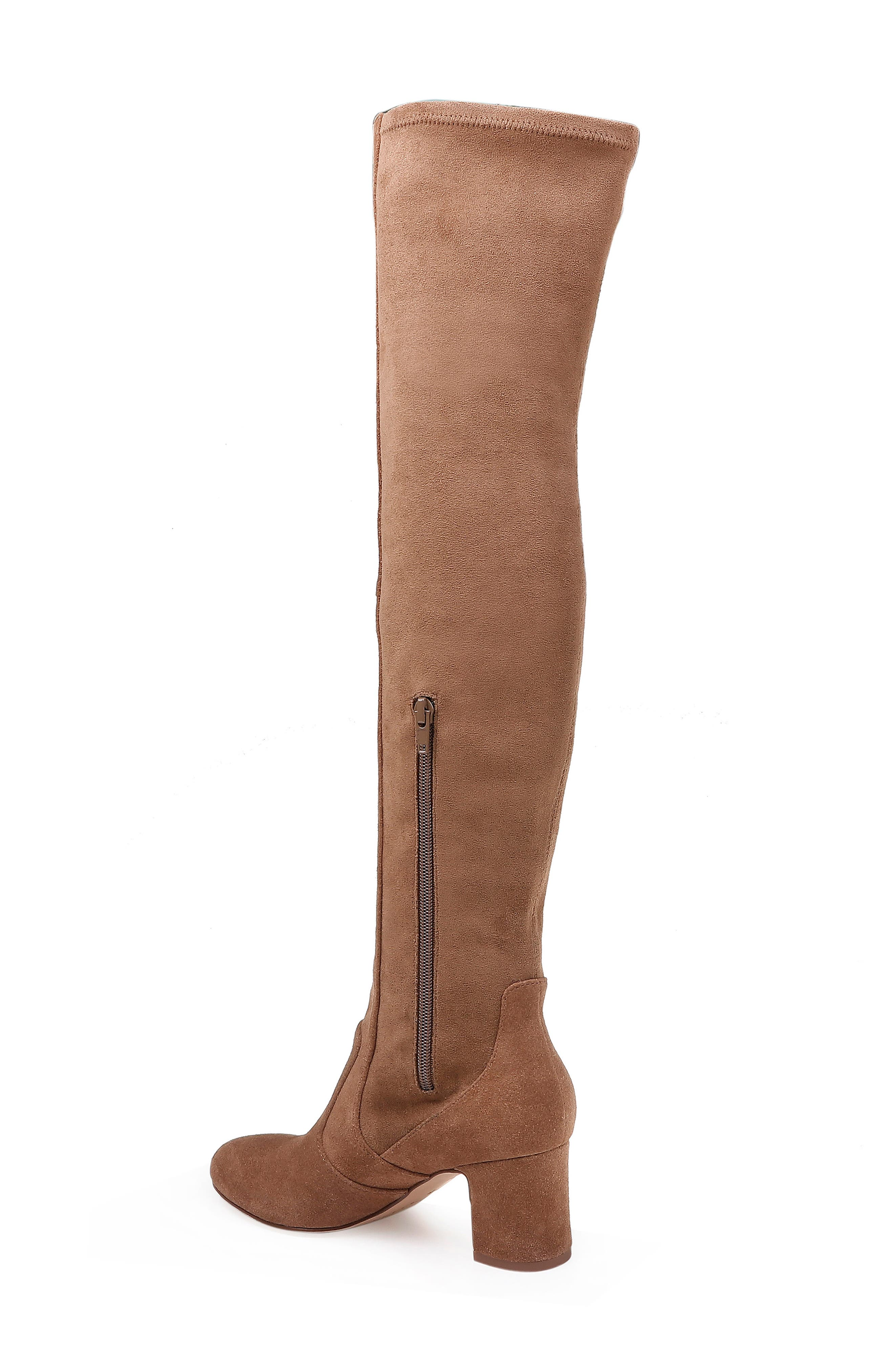 Over the Knee Stretch Back Boot,                             Alternate thumbnail 2, color,                             LIGHT BROWN SUEDE