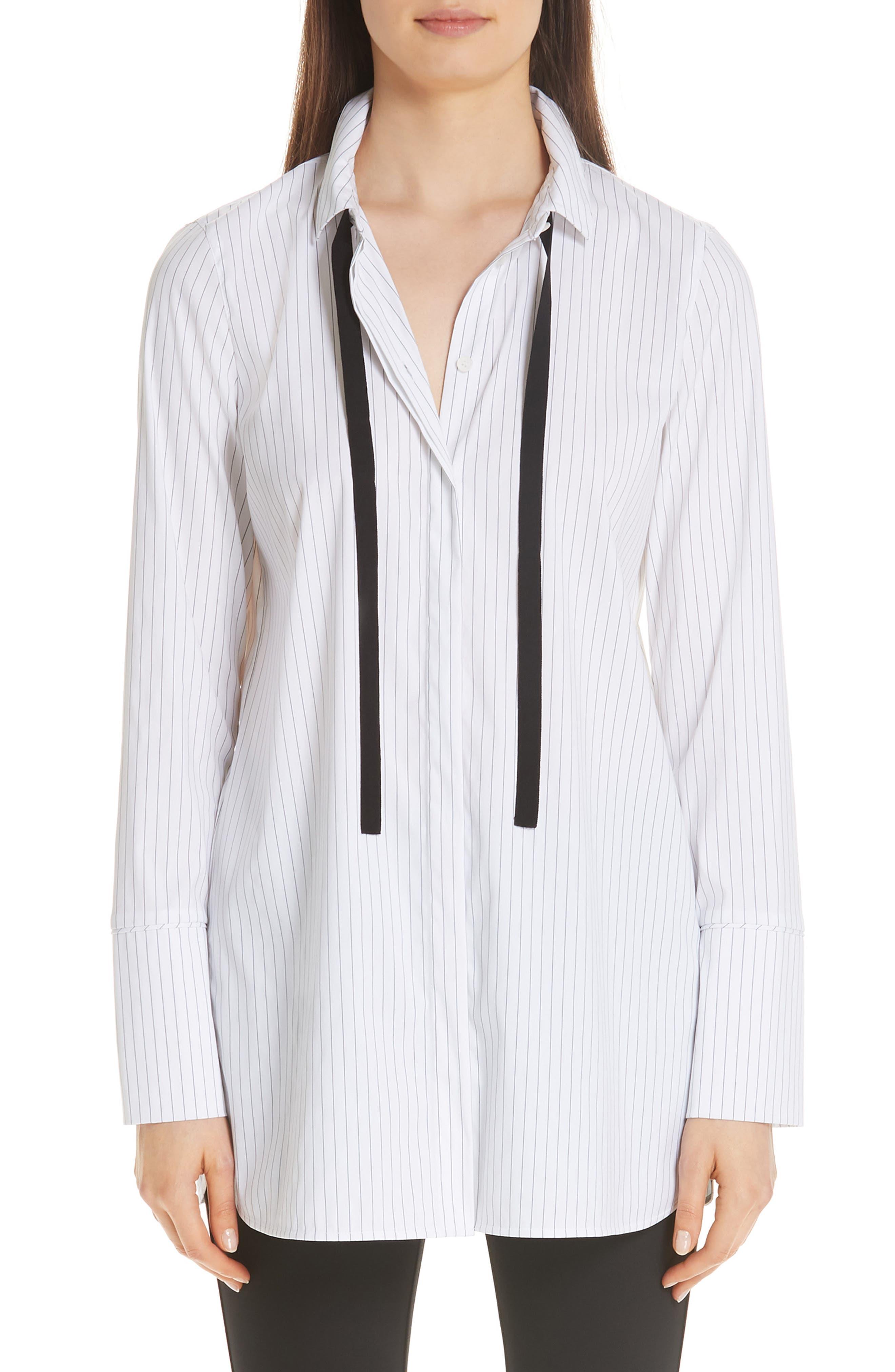 Annaleise Contrast Tie Stanford Stripe Blouse,                             Main thumbnail 1, color,                             BLACK MULTI
