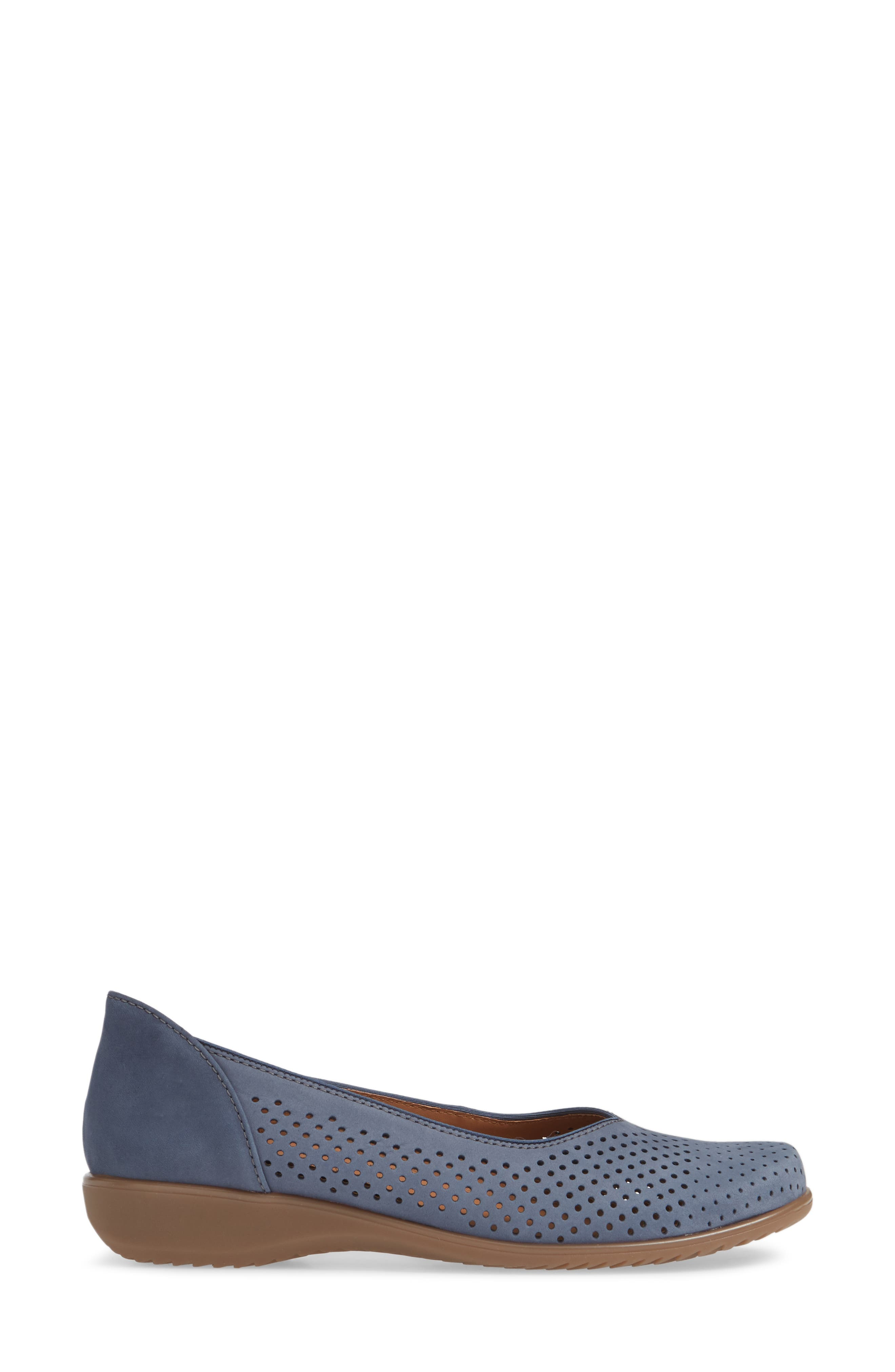 ARA,                             Avril Perforated Flat,                             Alternate thumbnail 3, color,                             JEANS NUBUCK LEATHER
