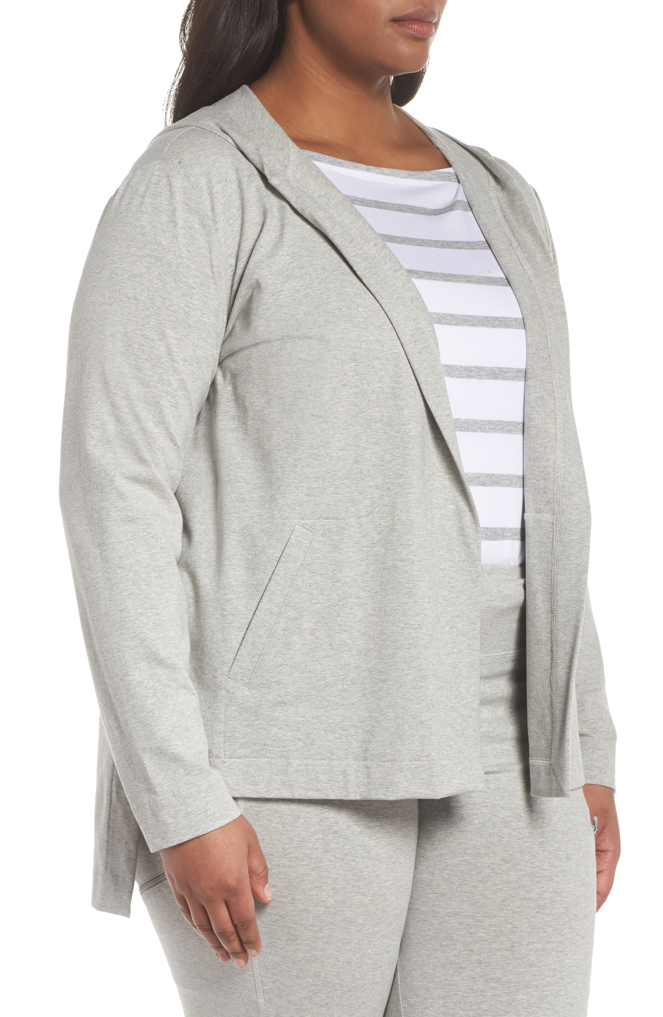 Stretch Organic Cotton Knit Hooded Jacket,                             Alternate thumbnail 3, color,                             020