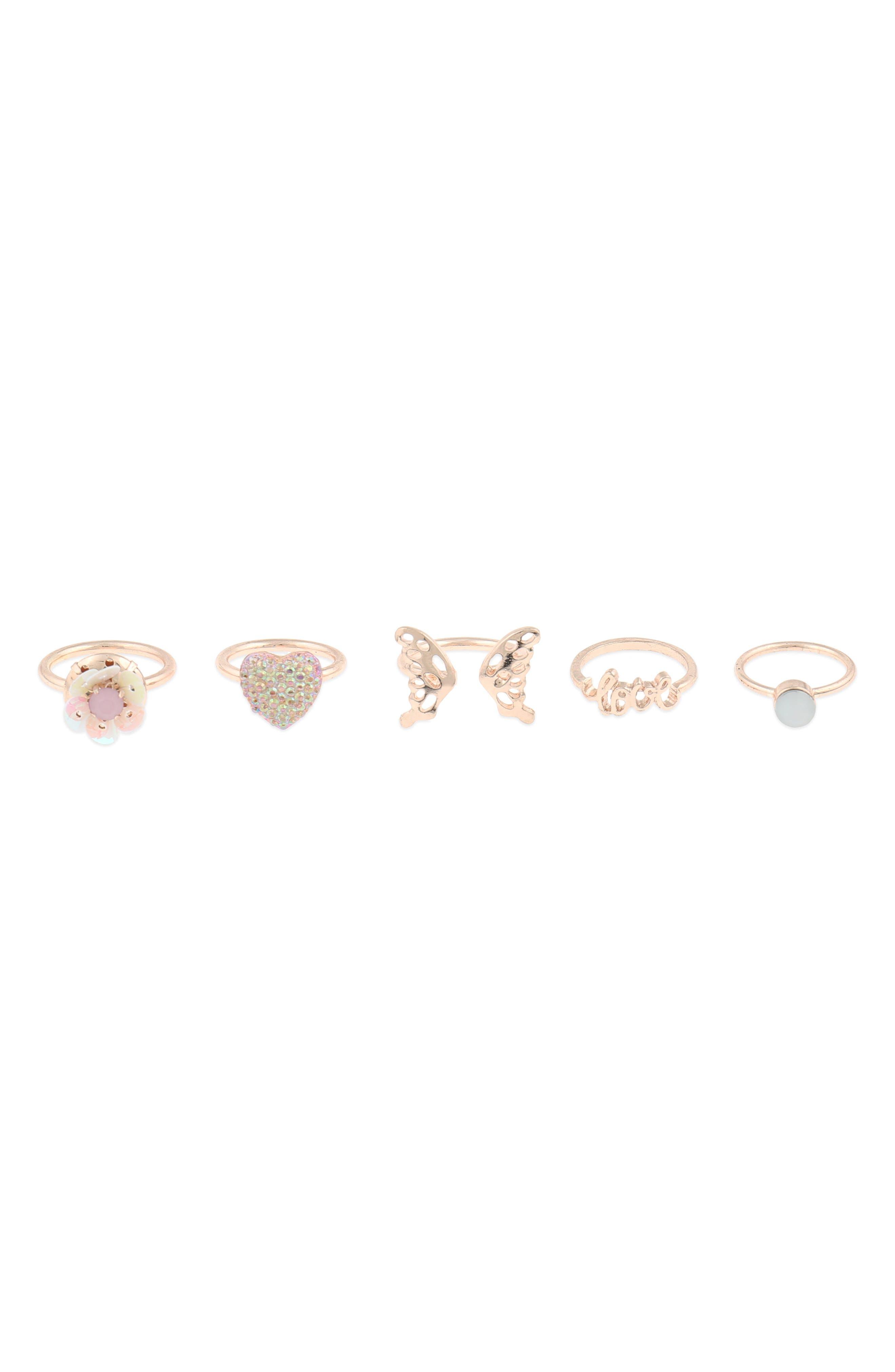 Set of 5 Paris Love Rings,                             Main thumbnail 1, color,