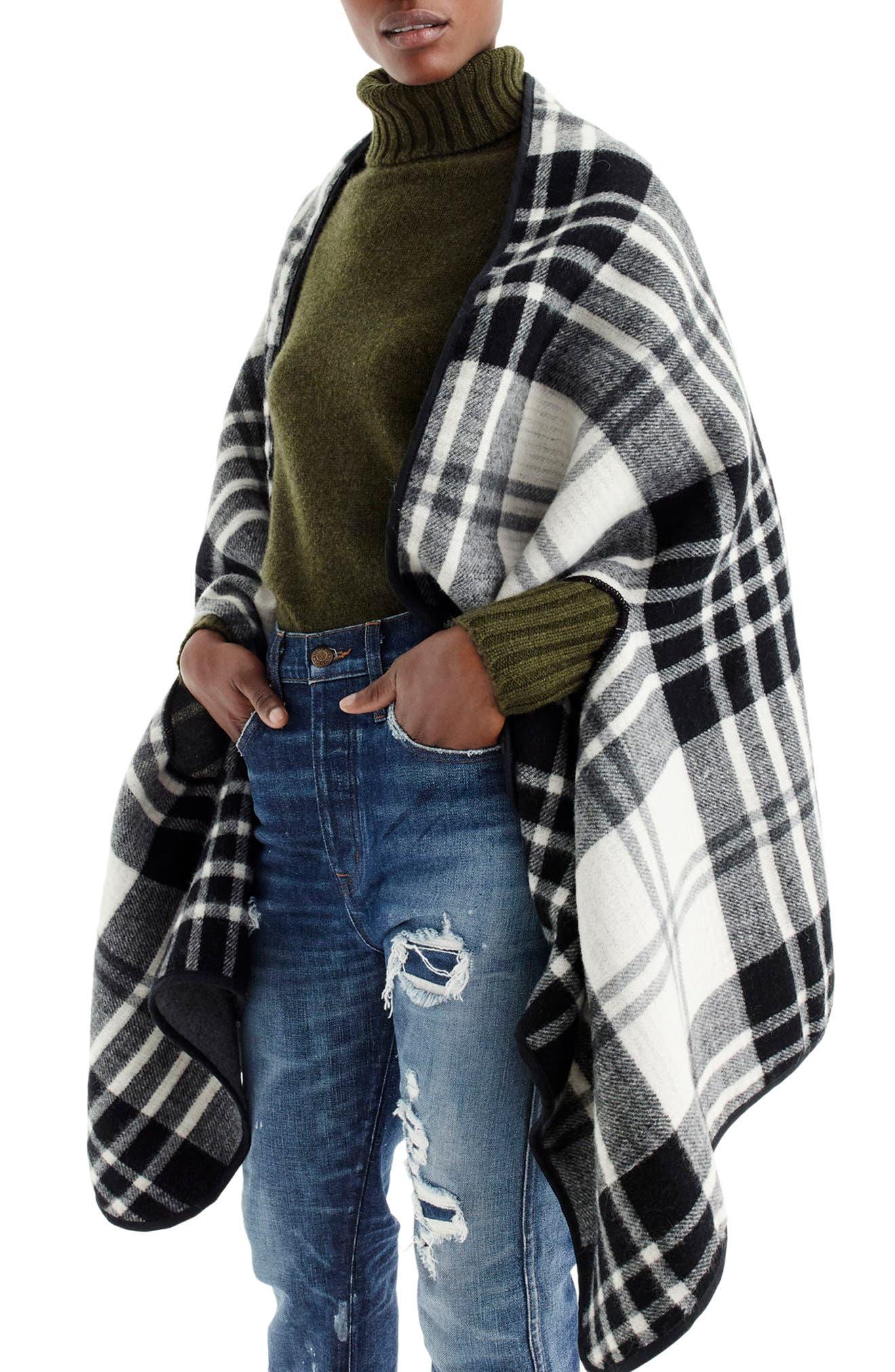 Faux Shearling Collar Poncho, Main, color, 002
