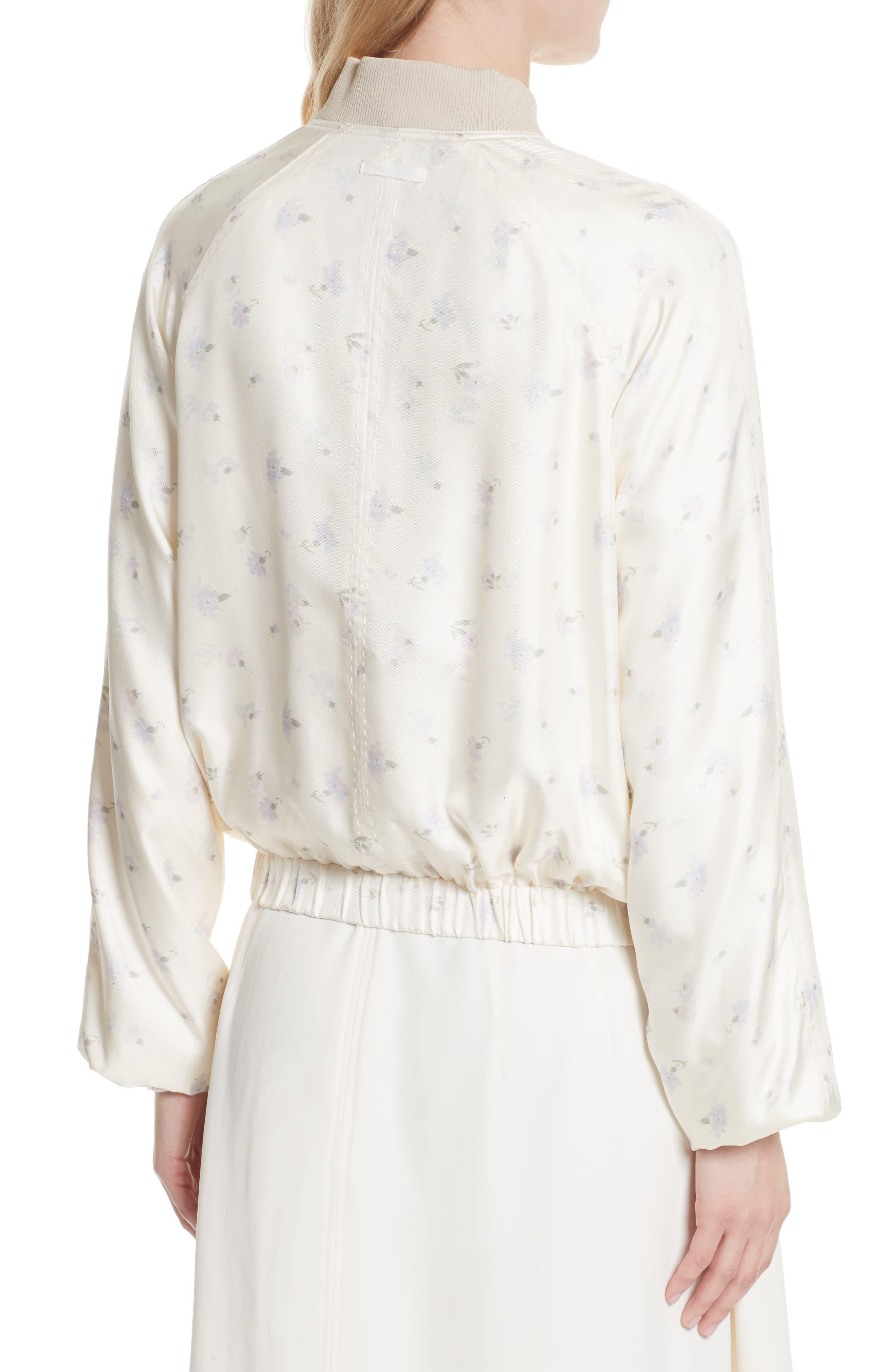 Jacque Floral Print Silk Bomber Jacket,                             Alternate thumbnail 2, color,                             903