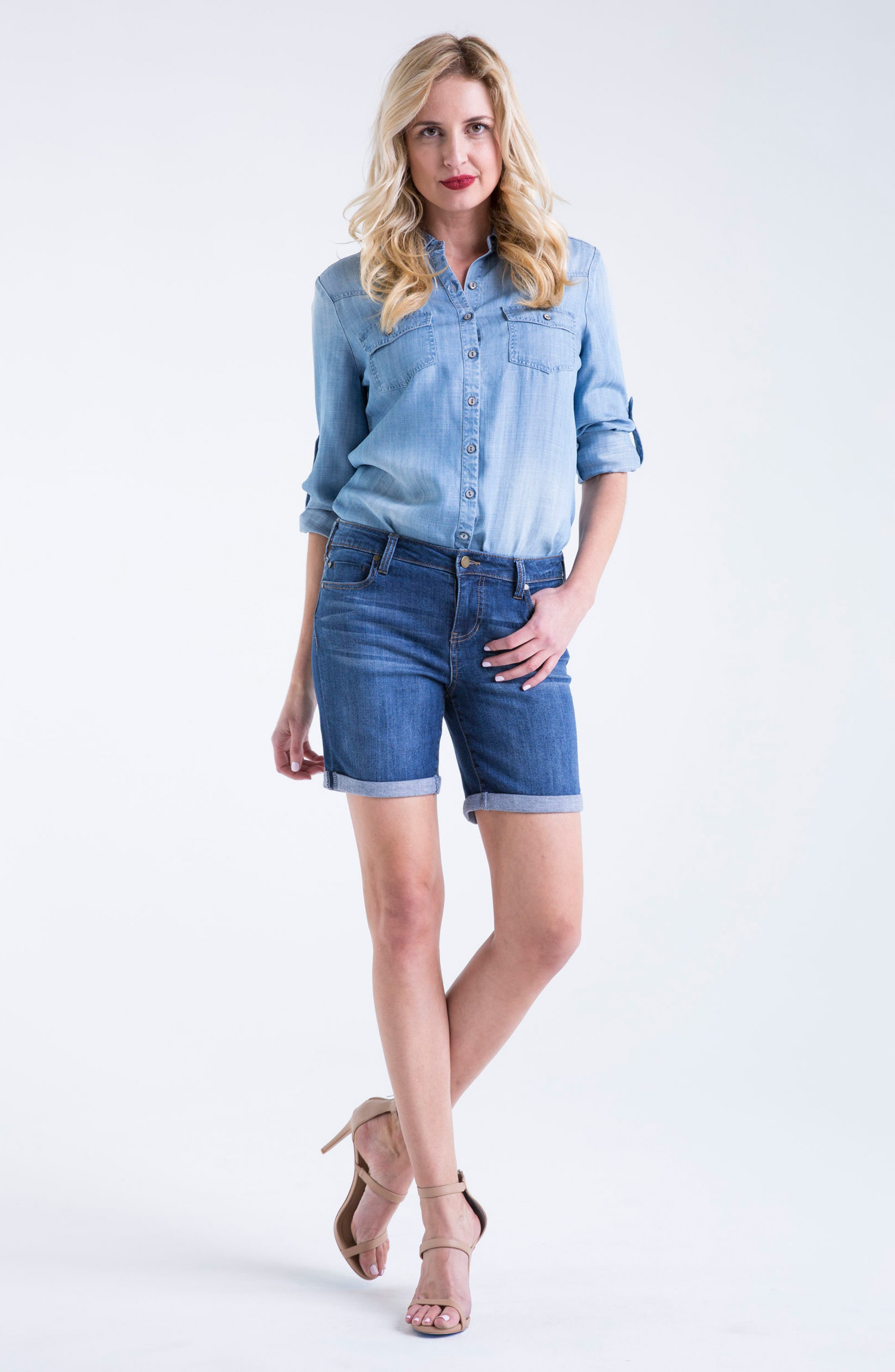 Corine Stretch Denim Shorts,                             Alternate thumbnail 4, color,                             404
