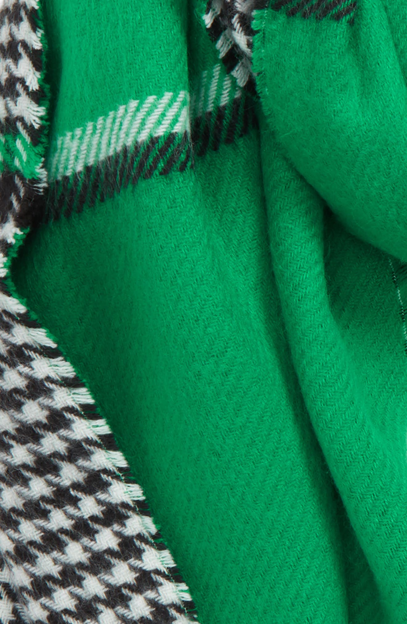 Double Sided Check Blanket Scarf,                             Alternate thumbnail 4, color,                             GREEN COMBO