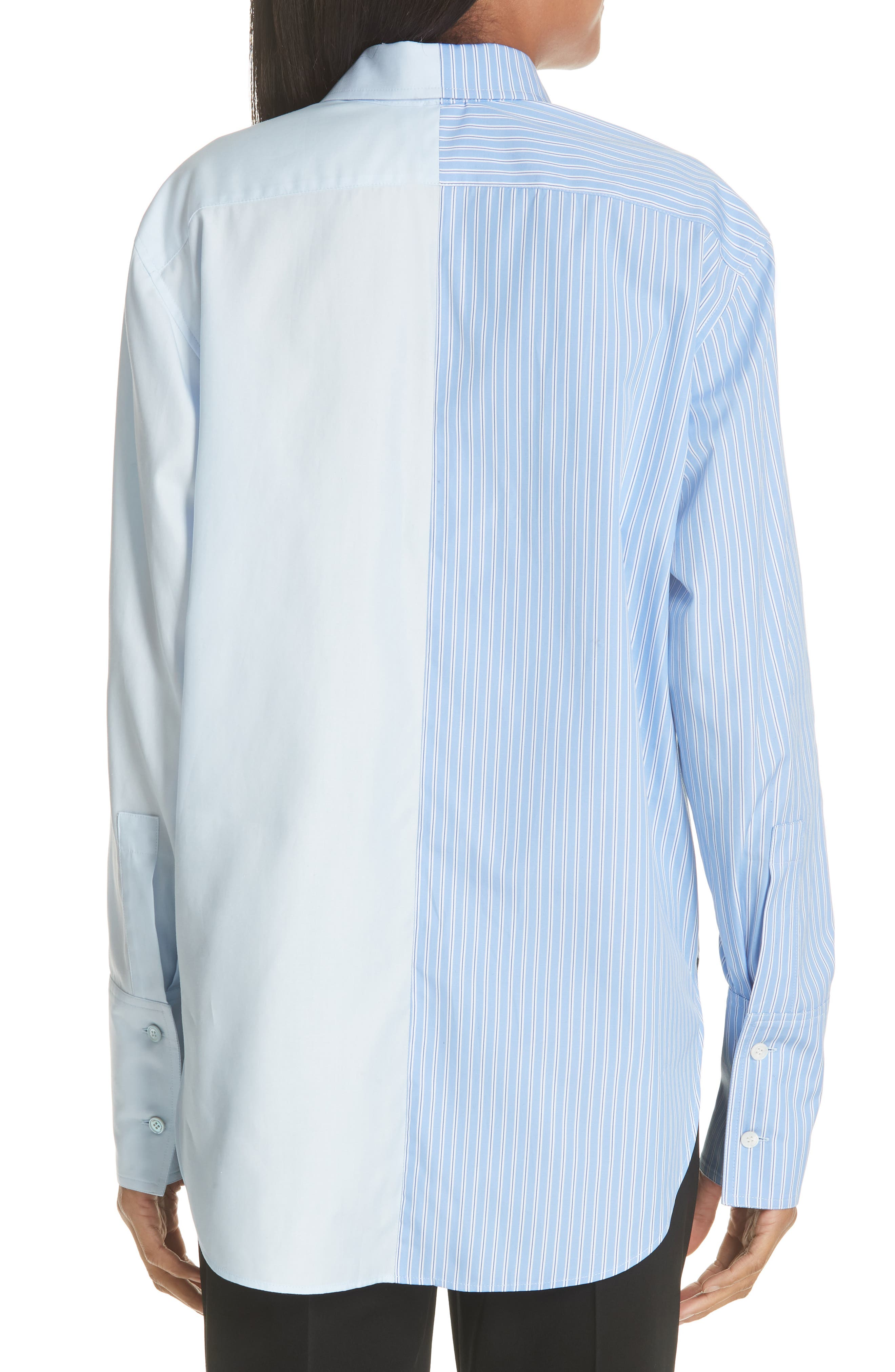 Two-Tone Zip Front Poplin Shirt,                             Alternate thumbnail 2, color,                             SKY BLUE