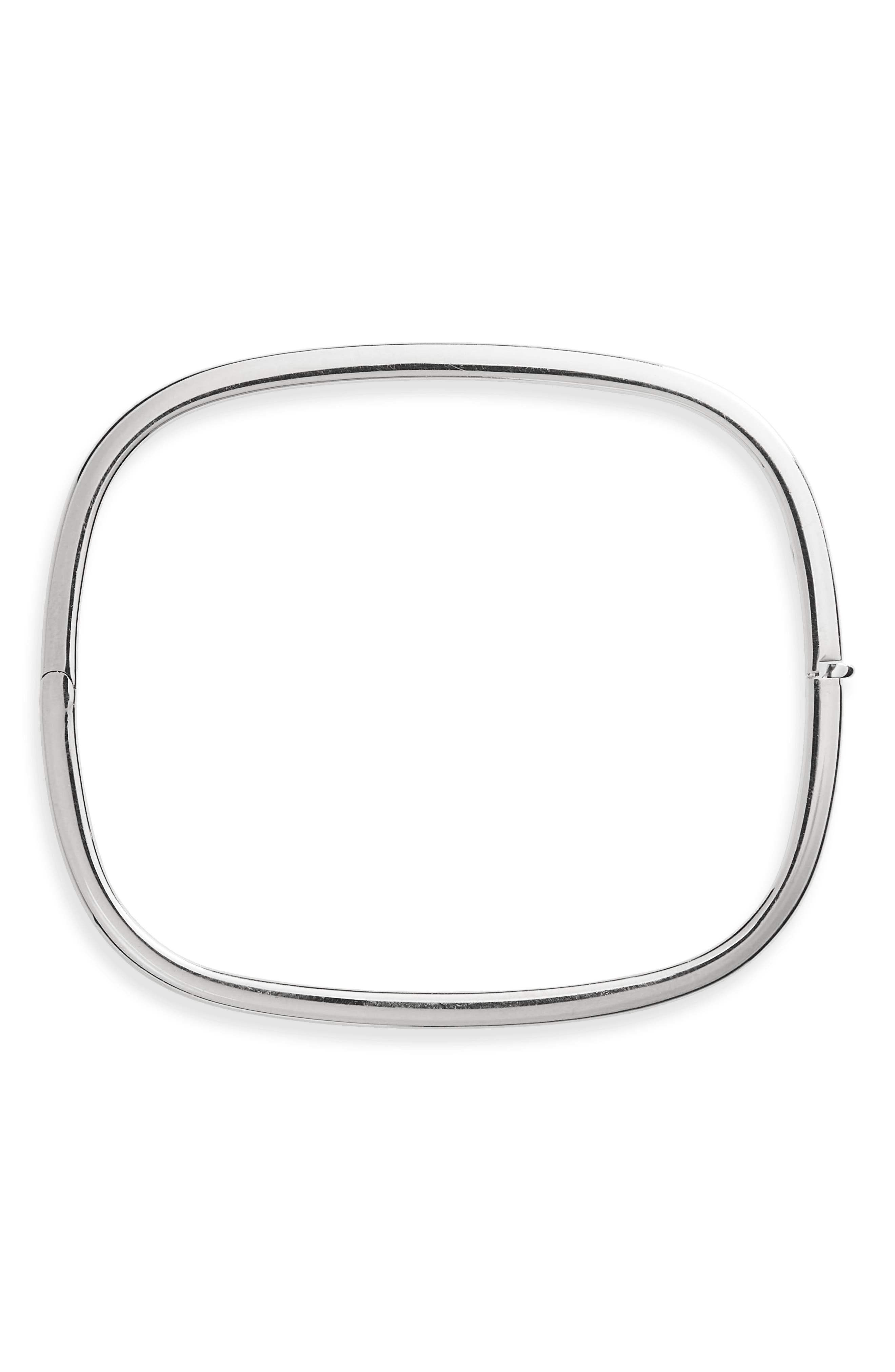 Soft Square Bangle Bracelet,                         Main,                         color, WHITE GOLD