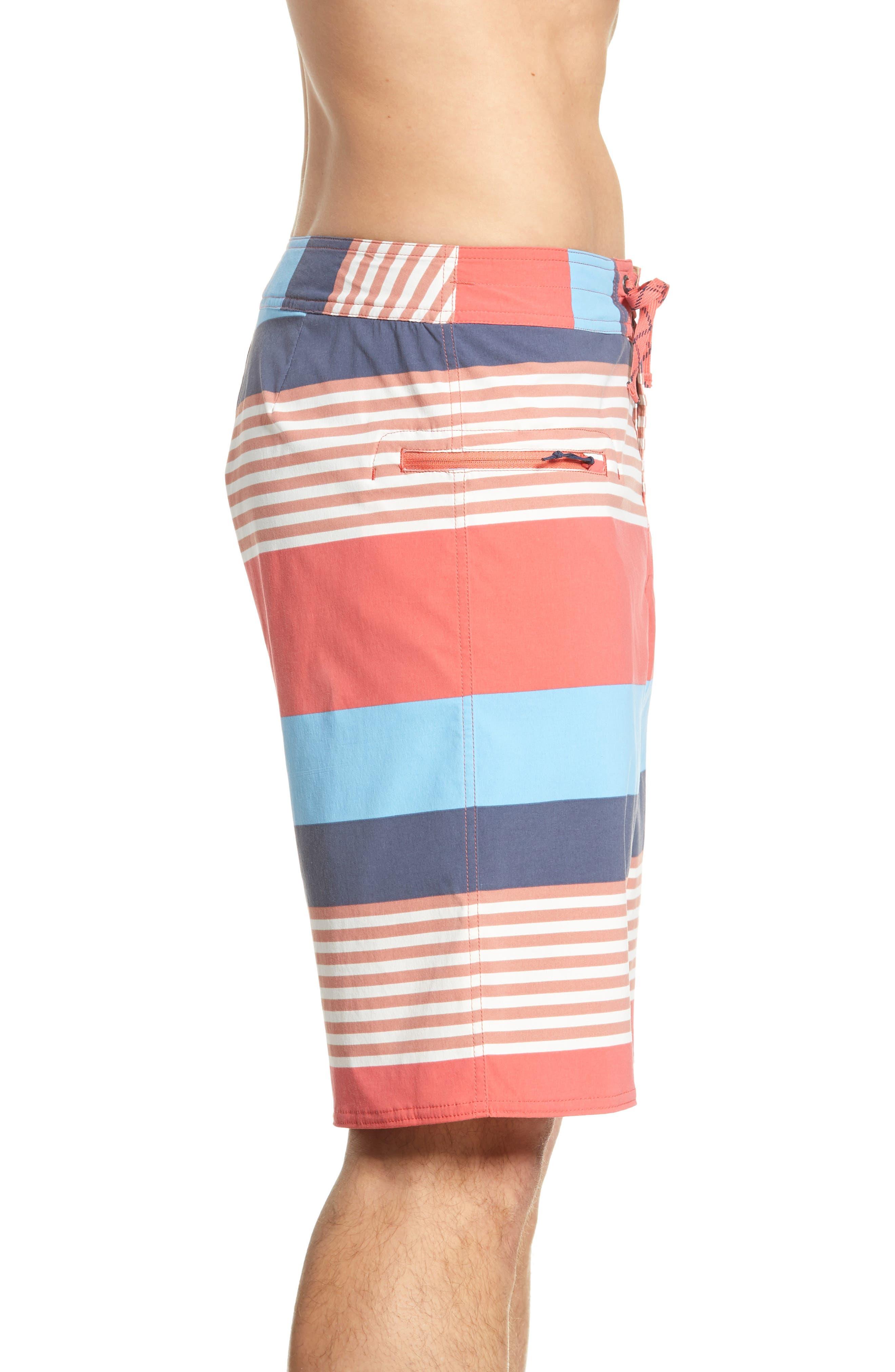 PATAGONIA,                             Wavefarer Board Shorts,                             Alternate thumbnail 3, color,                             FITZ STRIPE: SPICED CORAL