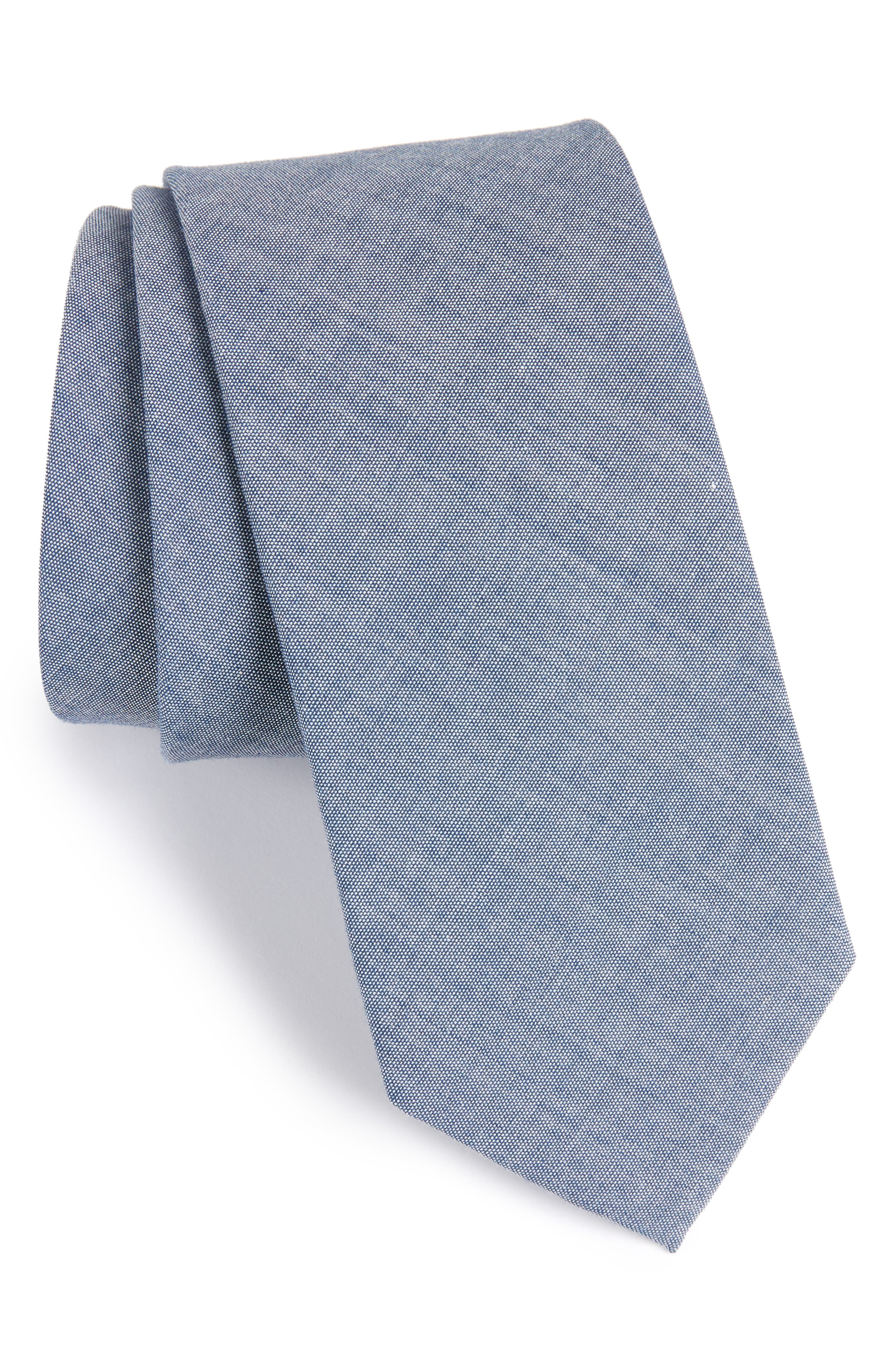Classic Chambray Cotton Tie,                             Main thumbnail 2, color,