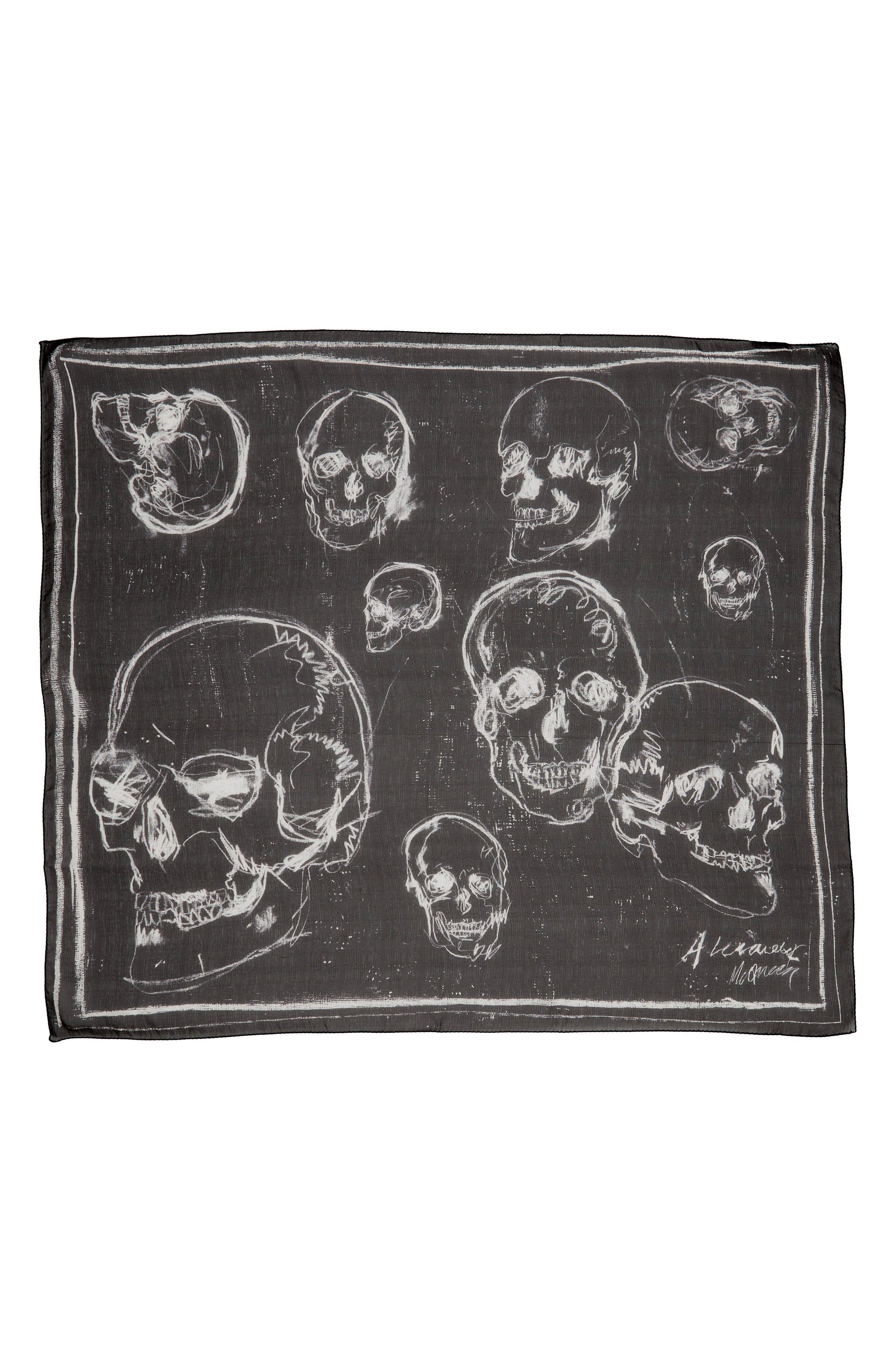 Graffiti Skull Silk Scarf,                             Alternate thumbnail 2, color,                             BLACK/ IVORY