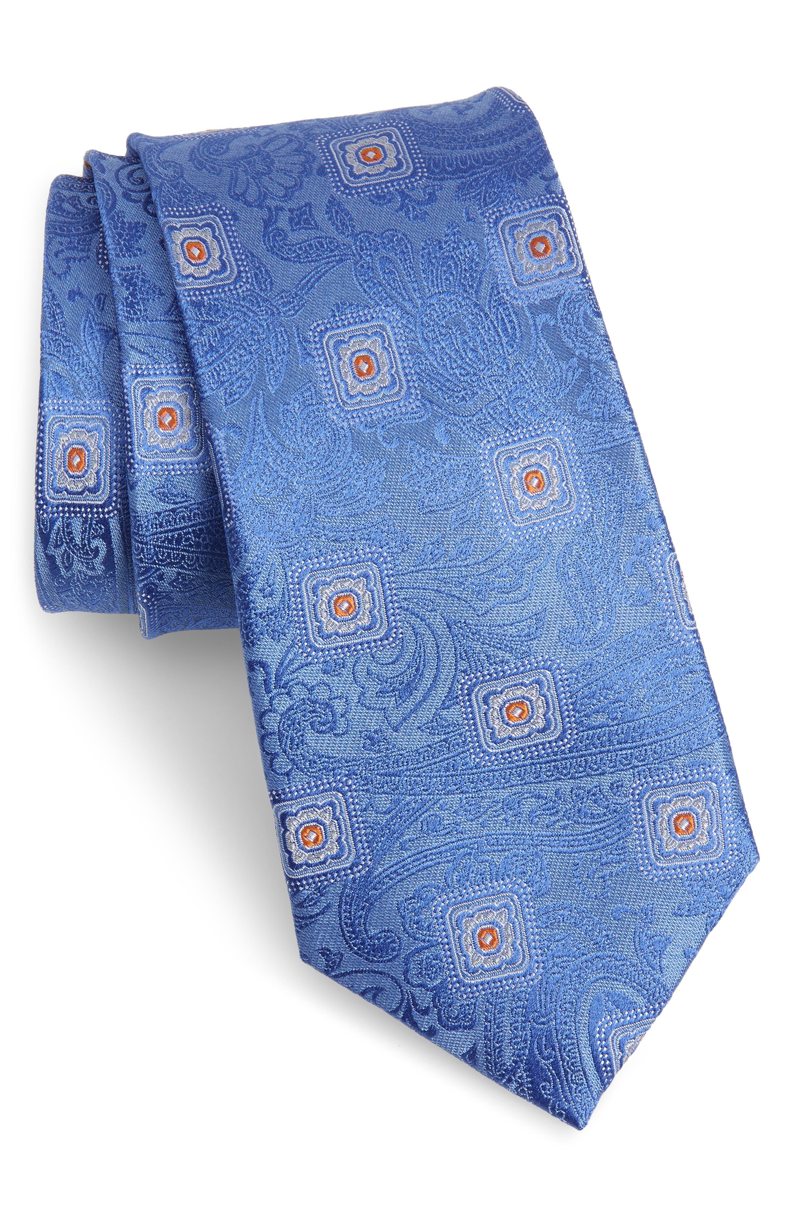 Baird Medallion Silk Tie,                         Main,                         color, BLUE