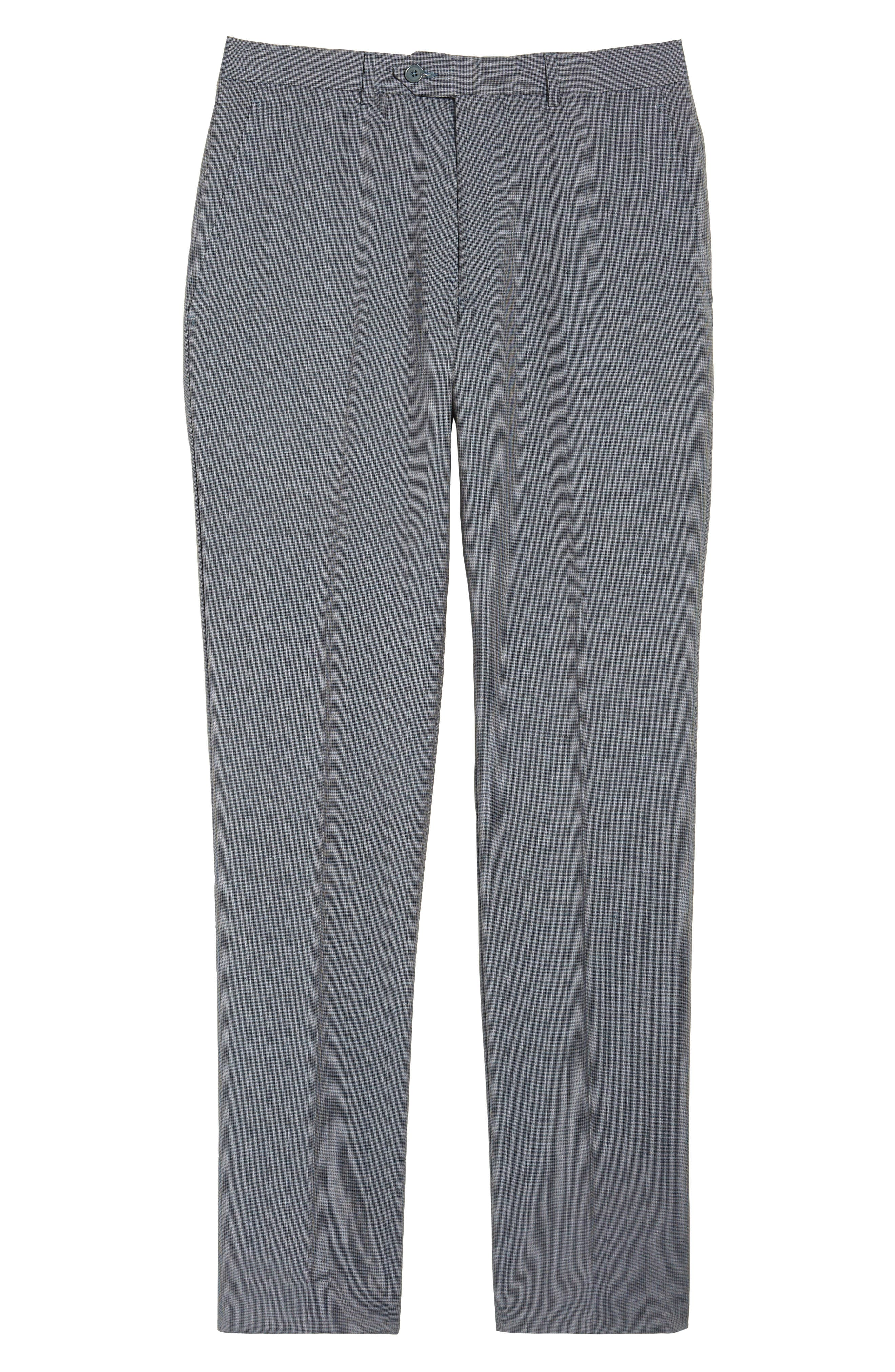 Flat Front Check Wool Trousers,                             Alternate thumbnail 6, color,