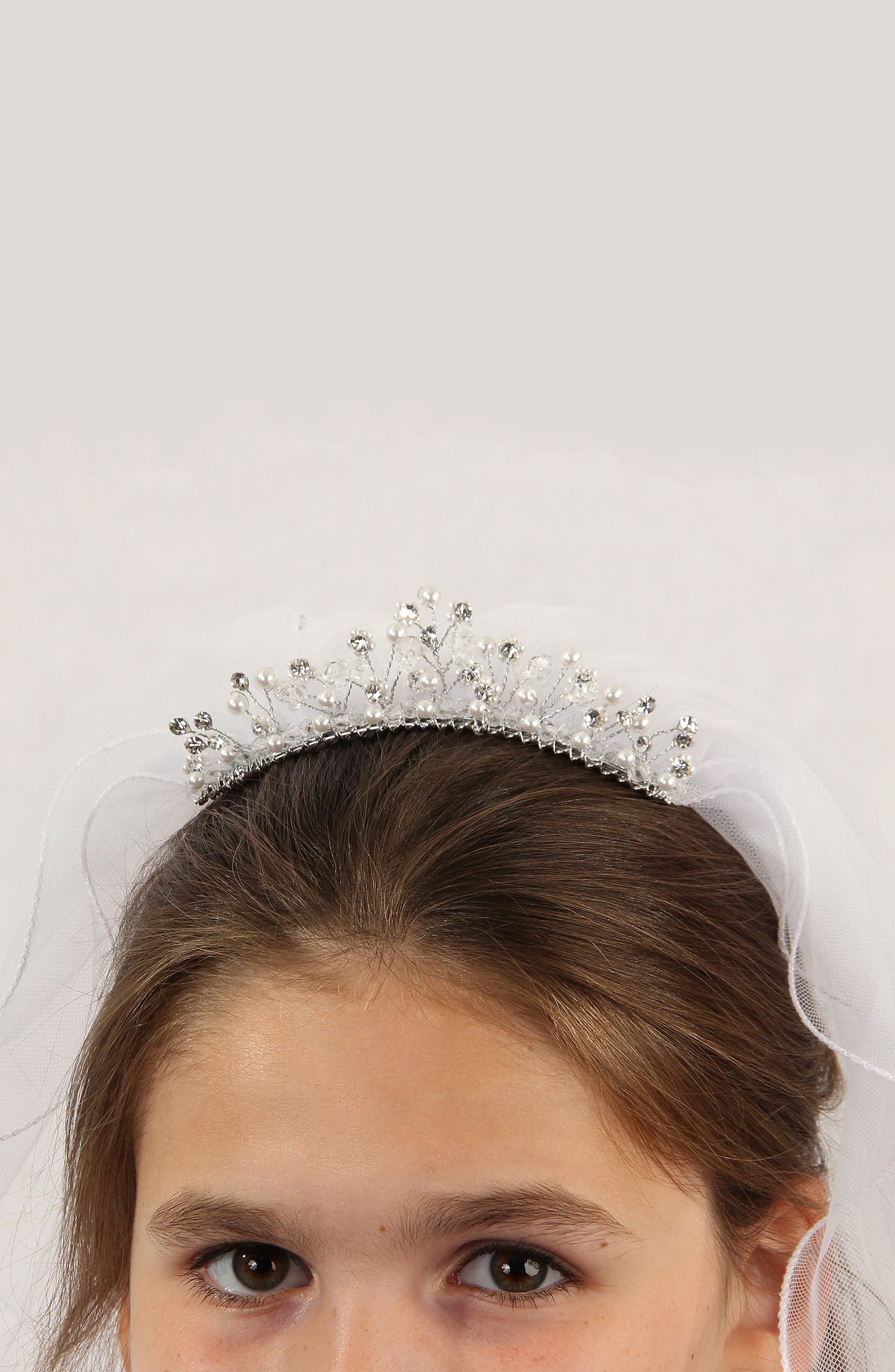 Imitation Pearl Crown & Veil,                             Alternate thumbnail 7, color,                             104