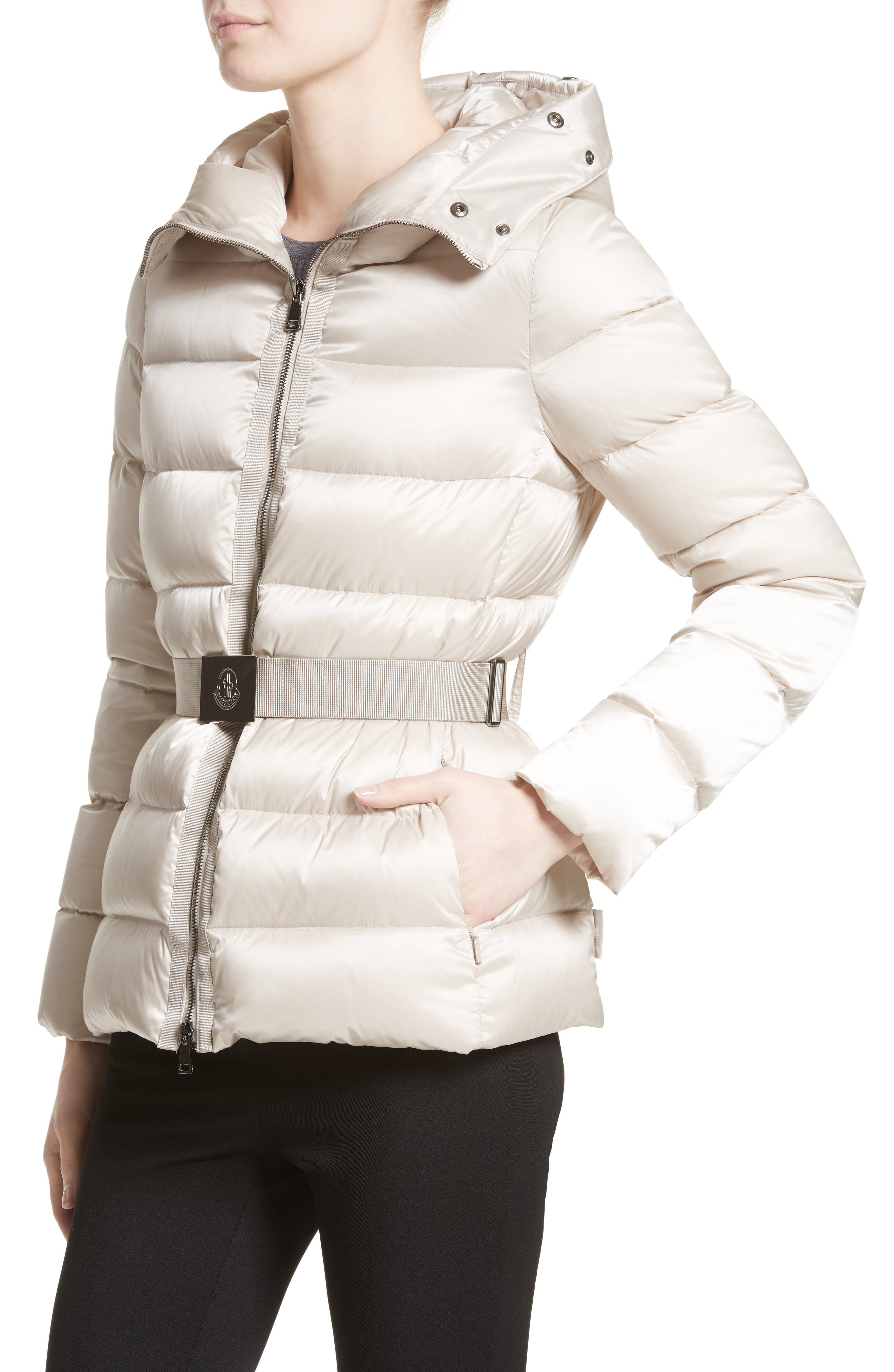 Tatie Belted Down Puffer Coat with Removable Genuine Fox Fur Trim,                             Alternate thumbnail 4, color,                             CHAMPAGNE