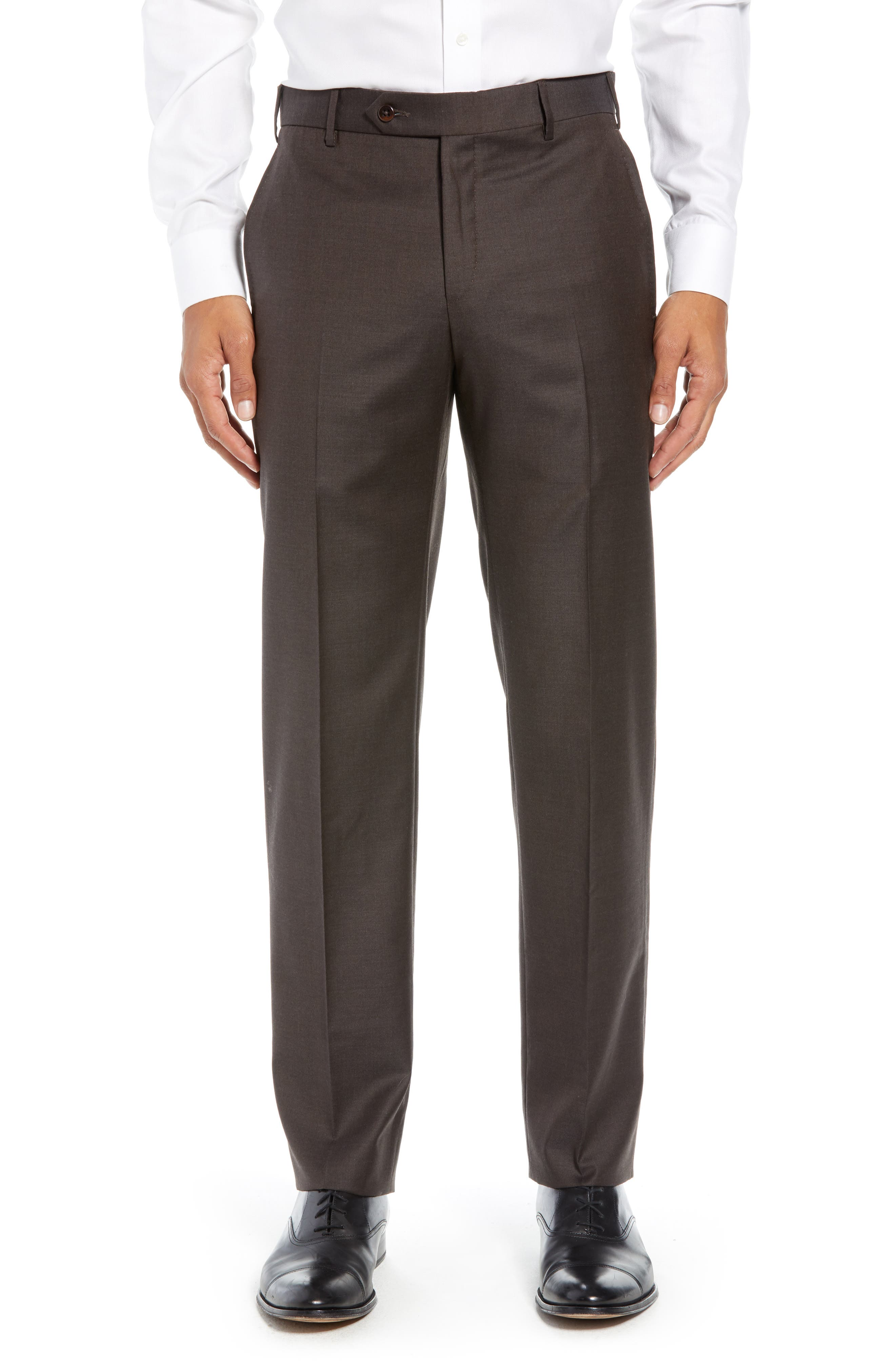 ZANELLA Parker Flat Front Solid Wool Trousers in Brown