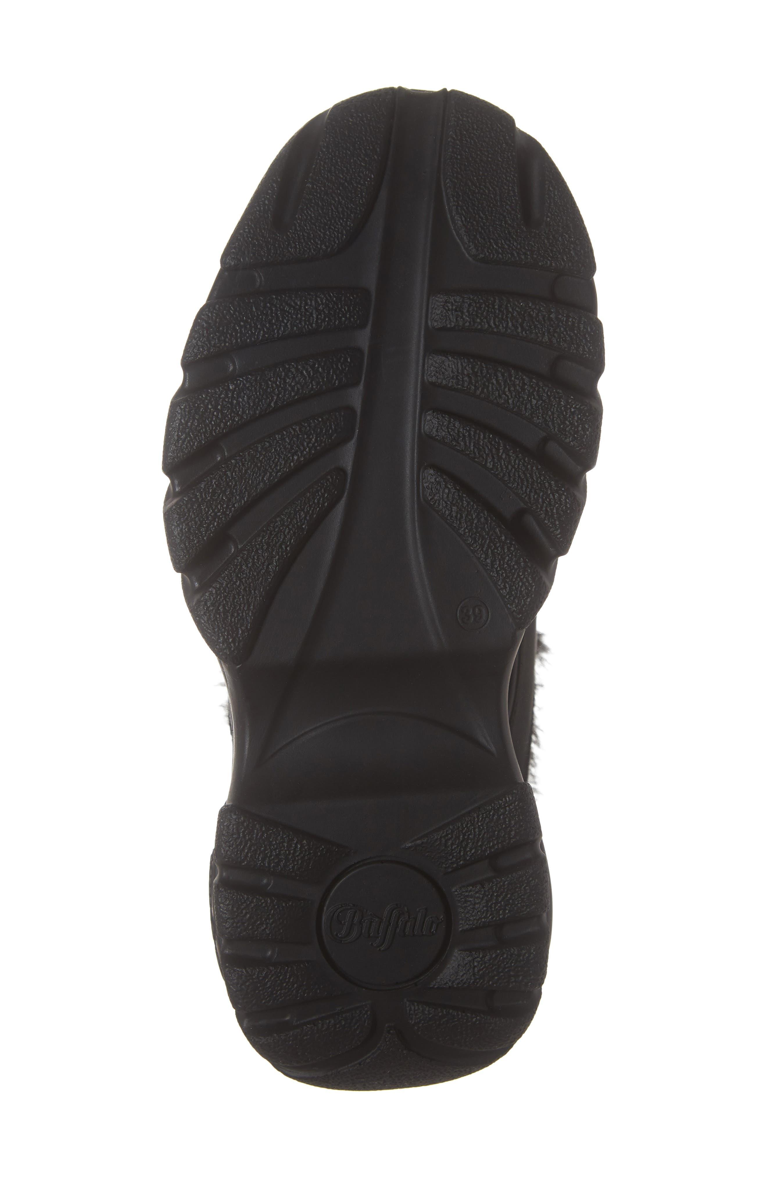 x Buffalo Platform Sneaker with Faux Fur Trim,                             Alternate thumbnail 6, color,                             001