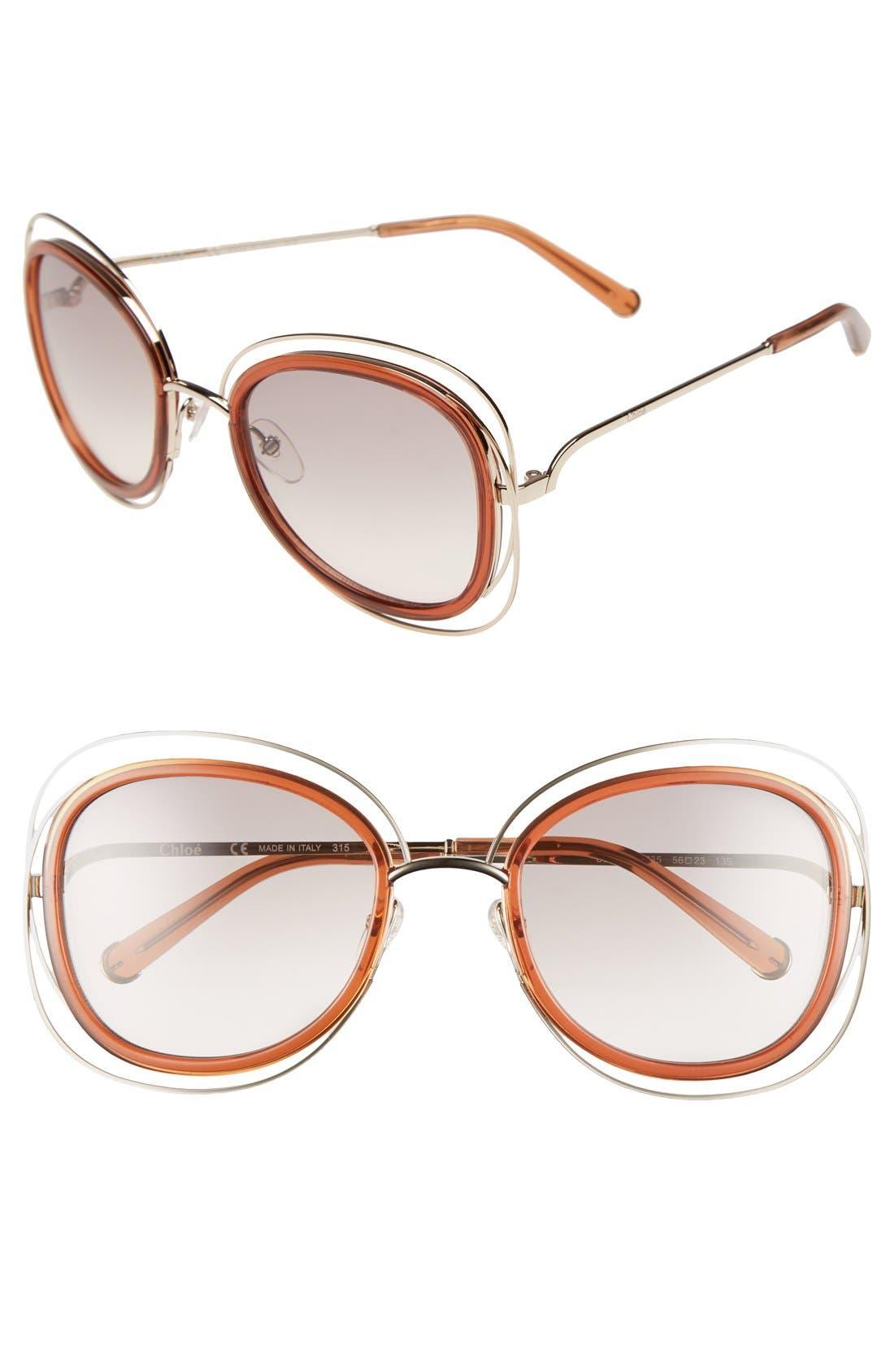 'Carlina' 56mm Gradient Sunglasses,                             Main thumbnail 3, color,