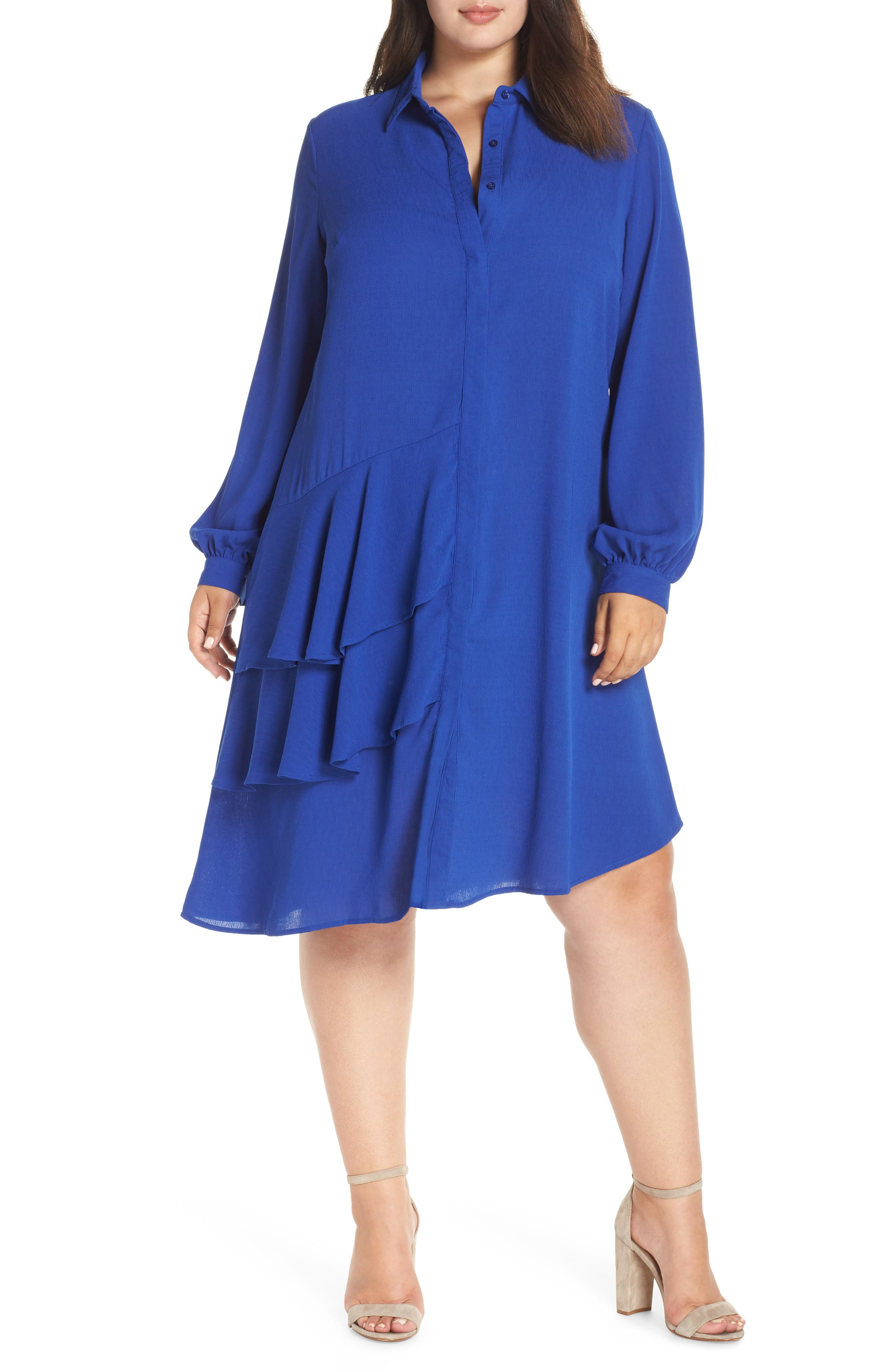 Frilly Shirtdress,                             Main thumbnail 1, color,                             BLUE