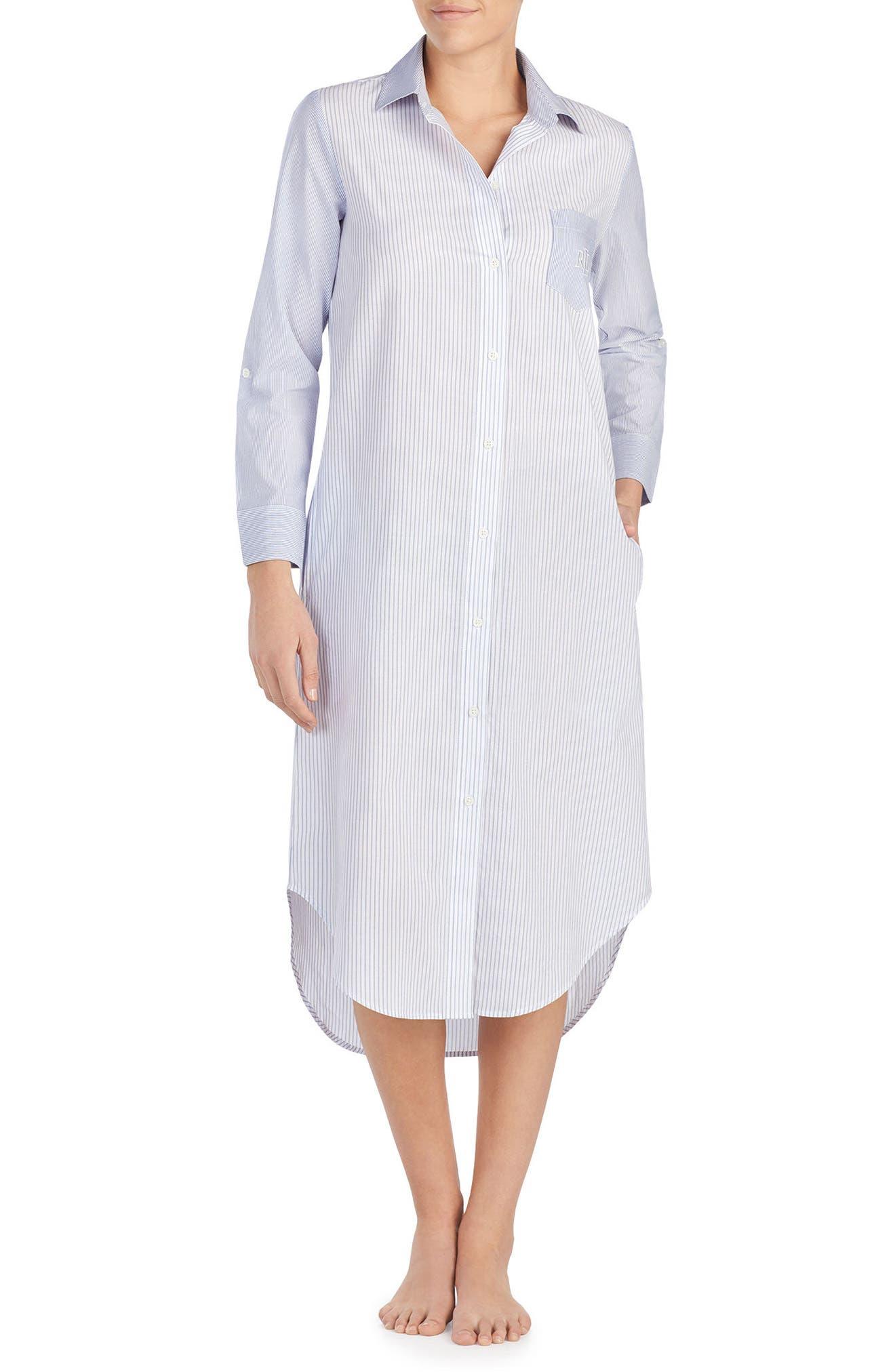 Sleep Shirt,                         Main,                         color, WHITE STRIPE