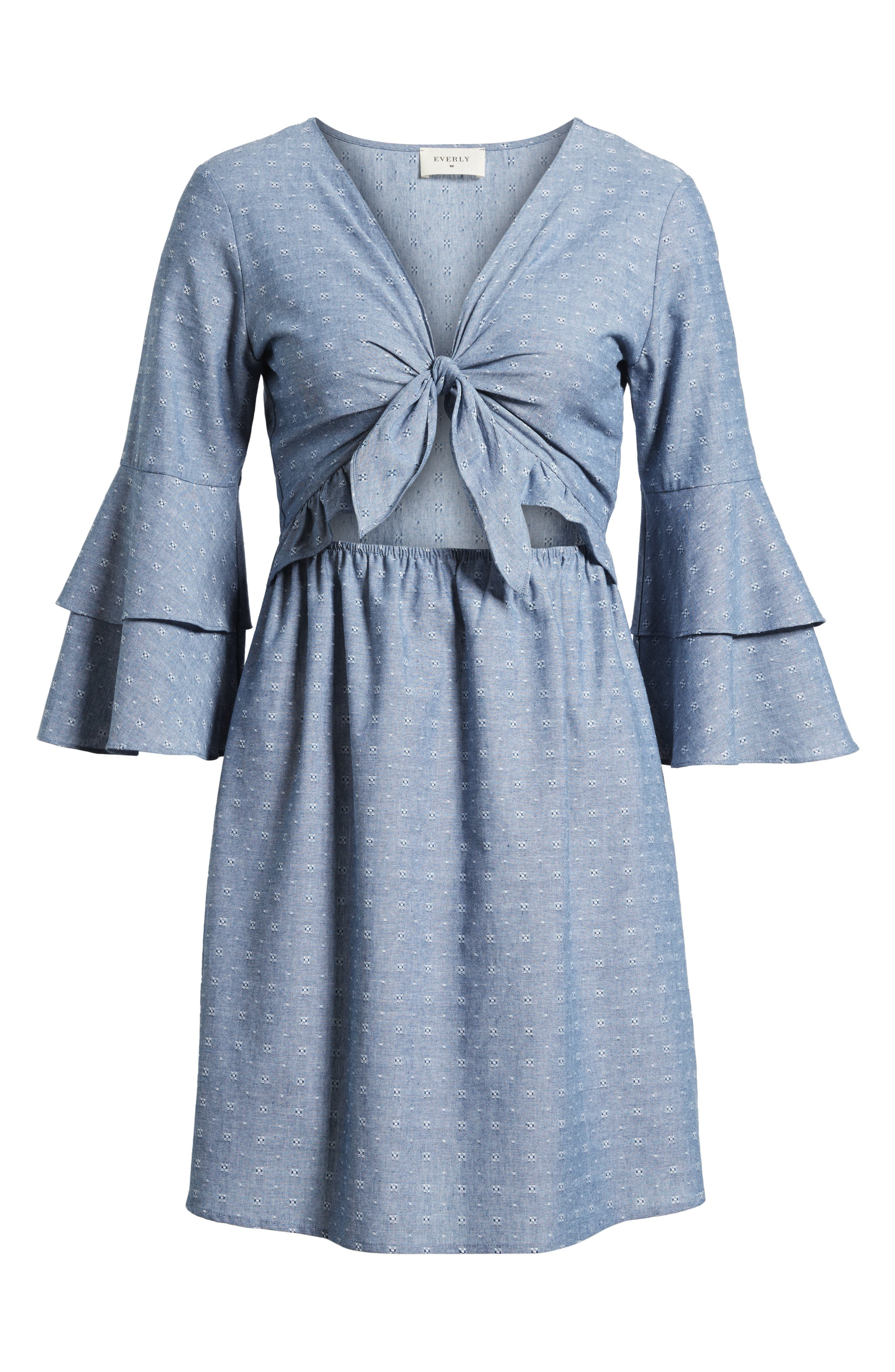 EVERLY,                             Cutout Tiered Sleeve Dress,                             Alternate thumbnail 7, color,                             400