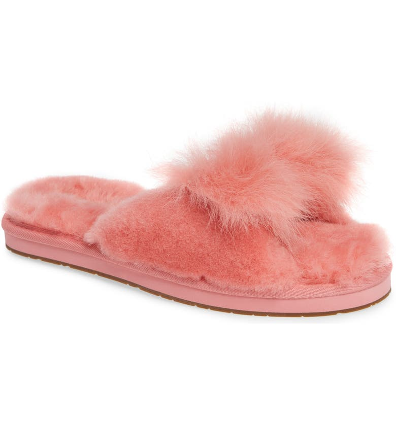 Mirabelle Genuine Shearling Slide Slipper,                         Main,                         color, LANTANA