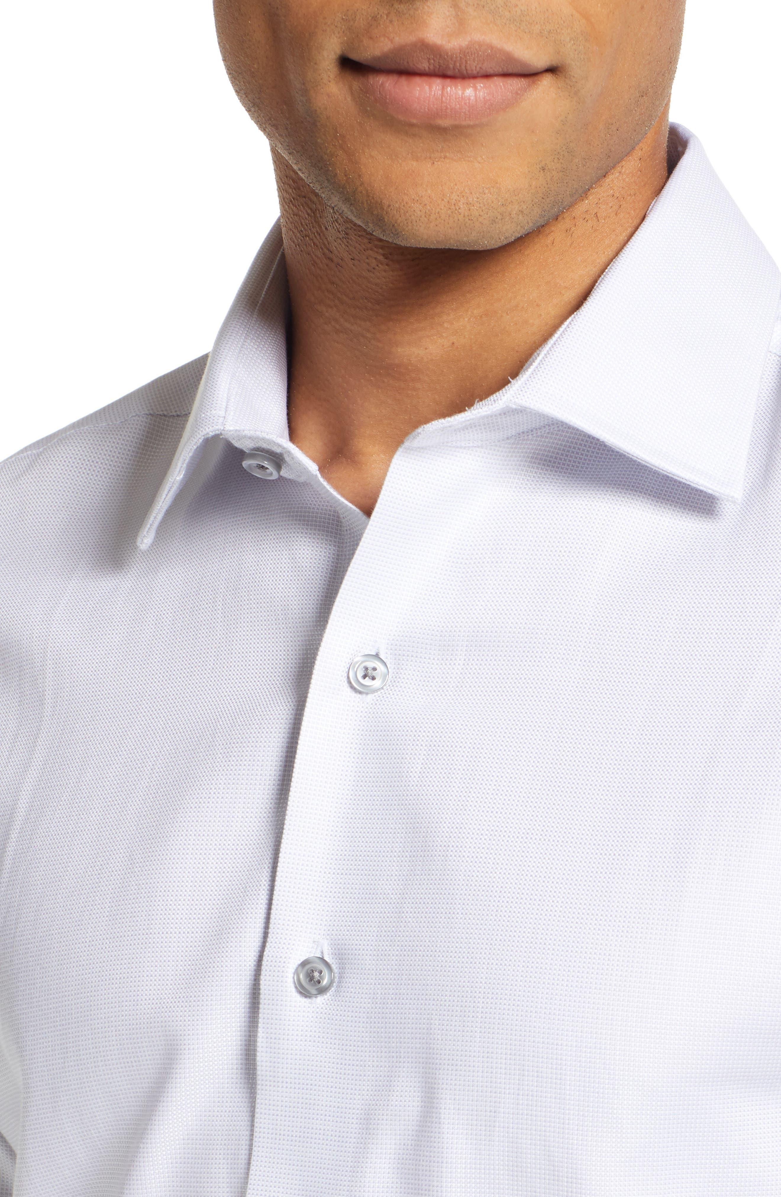 Slim Fit Solid Dress Shirt,                             Alternate thumbnail 2, color,                             GREY DOBBY