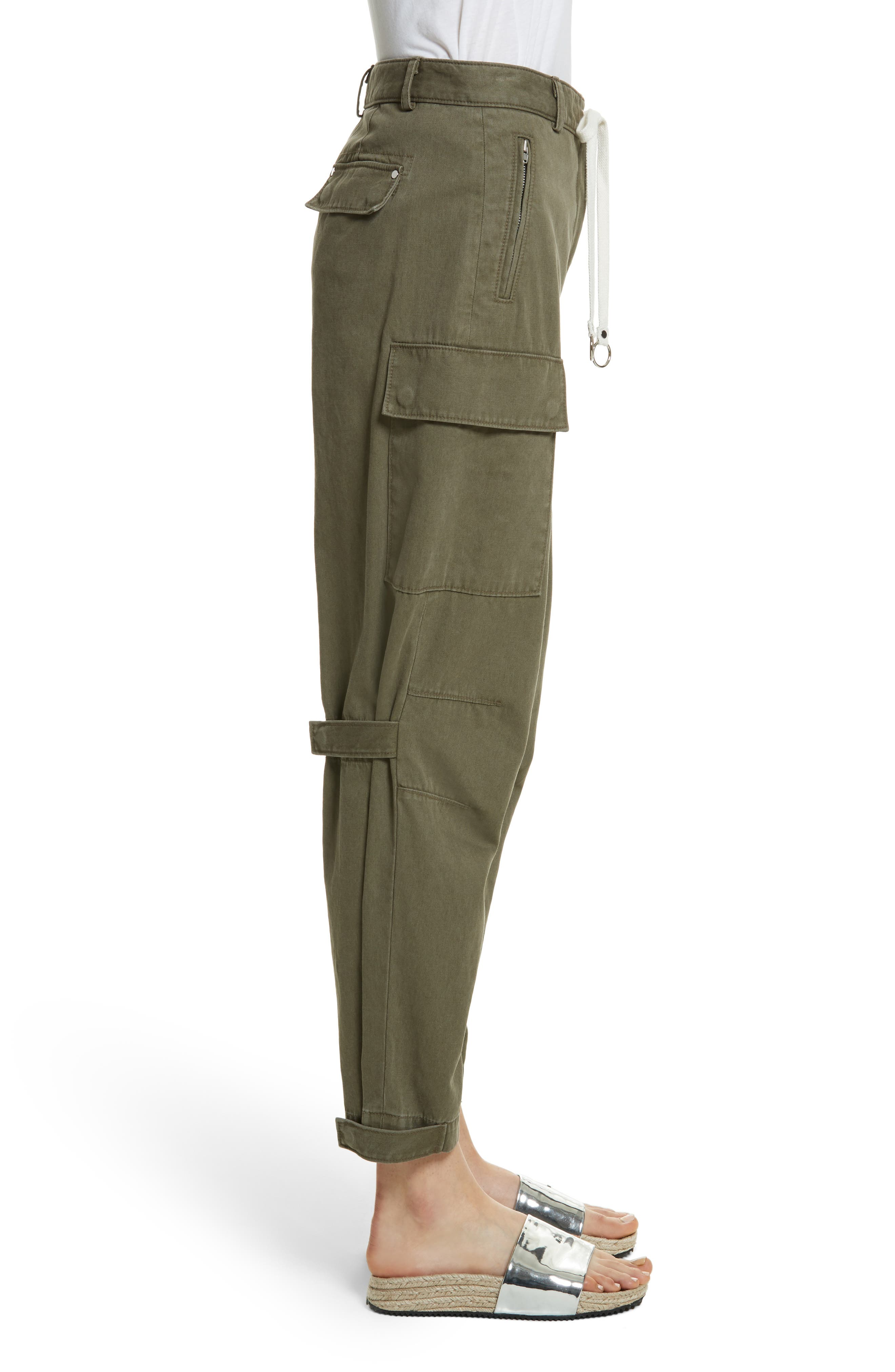 T by Alexander Wang Twill Cargo Pants,                             Alternate thumbnail 3, color,                             309