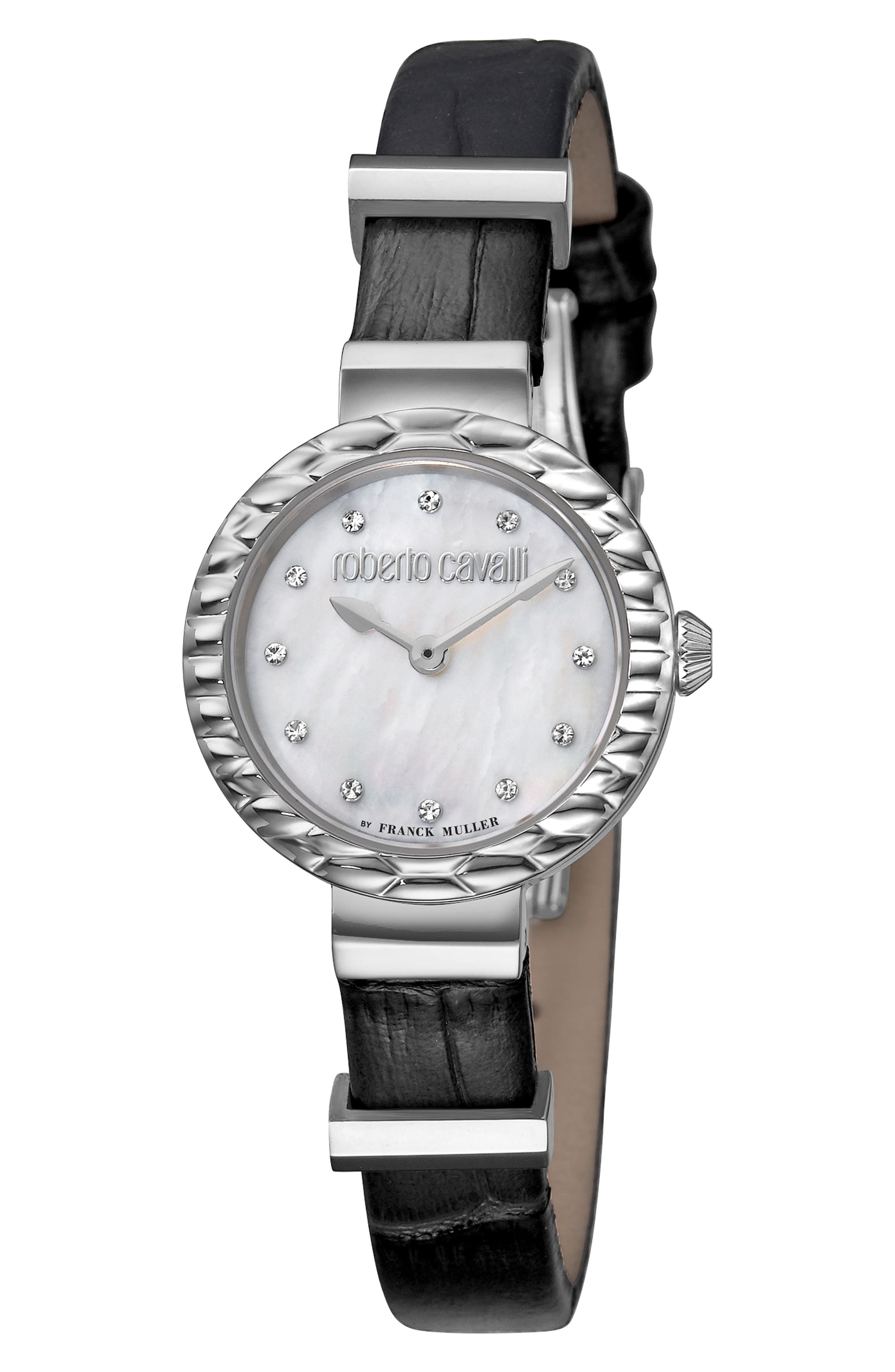 ROBERTO CAVALLI BY FRANCK MULLER Scala Diamond Leather Strap Watch, 26Mm in Black/ White Mop/ Silver