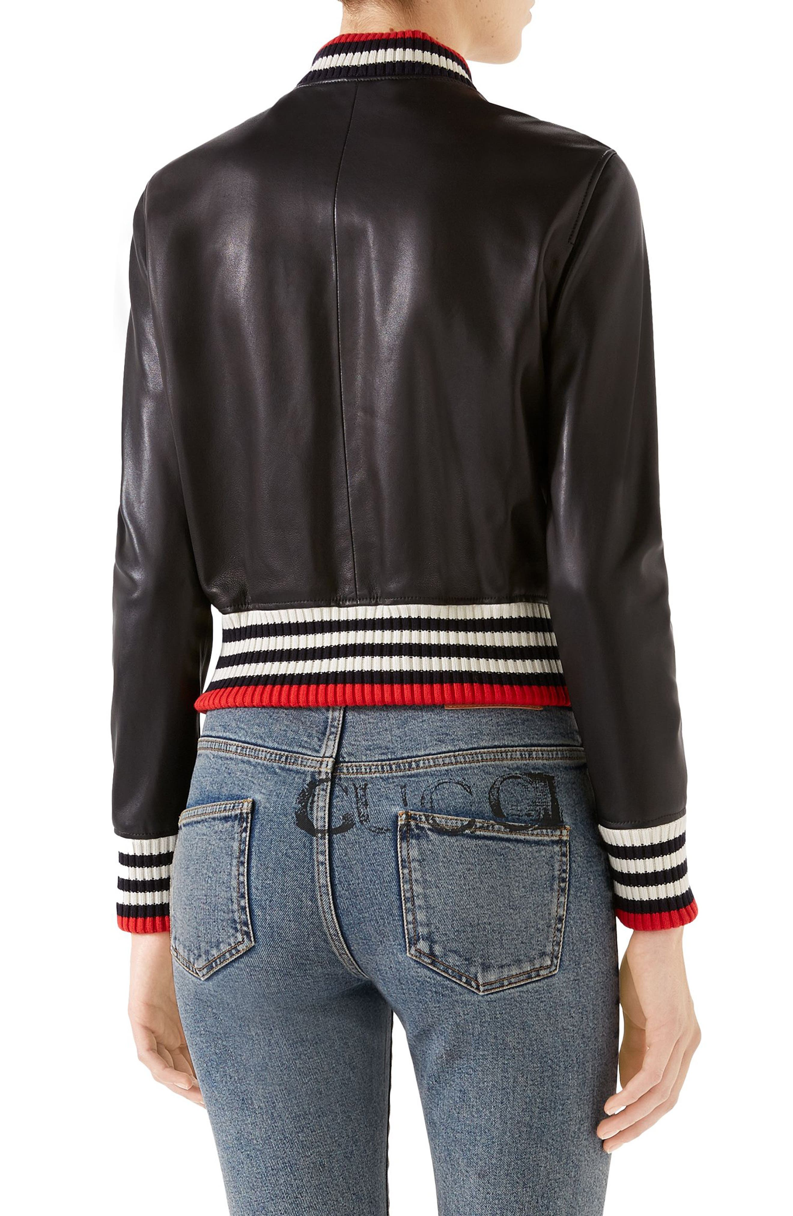 GUCCI,                             Bow Leather Bomber Jacket,                             Alternate thumbnail 2, color,                             1082 BLACK/ MULTICOLOR