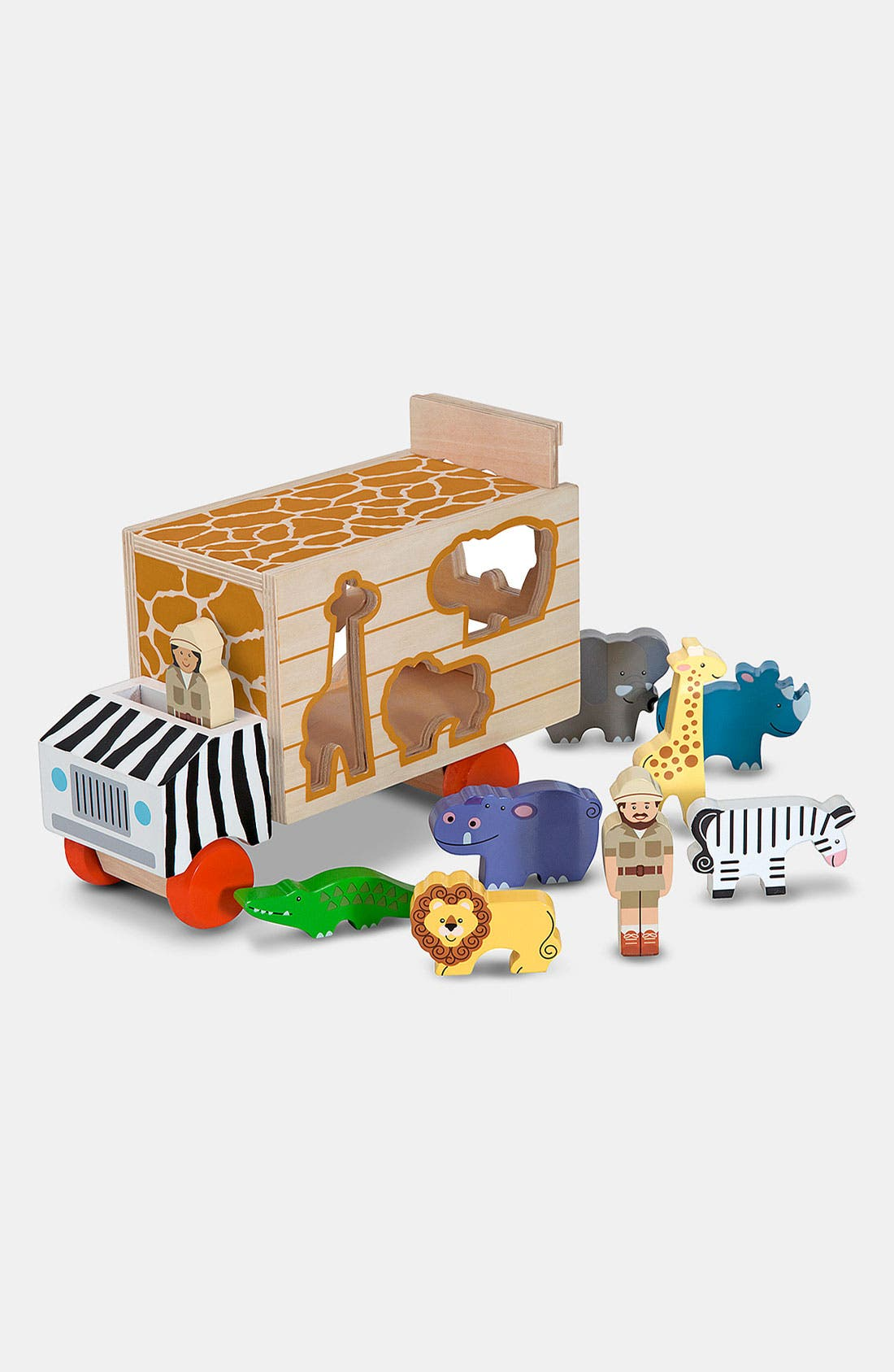 'Animal Rescue' Shape Sorting Wooden Truck Toy,                             Alternate thumbnail 2, color,                             BROWN