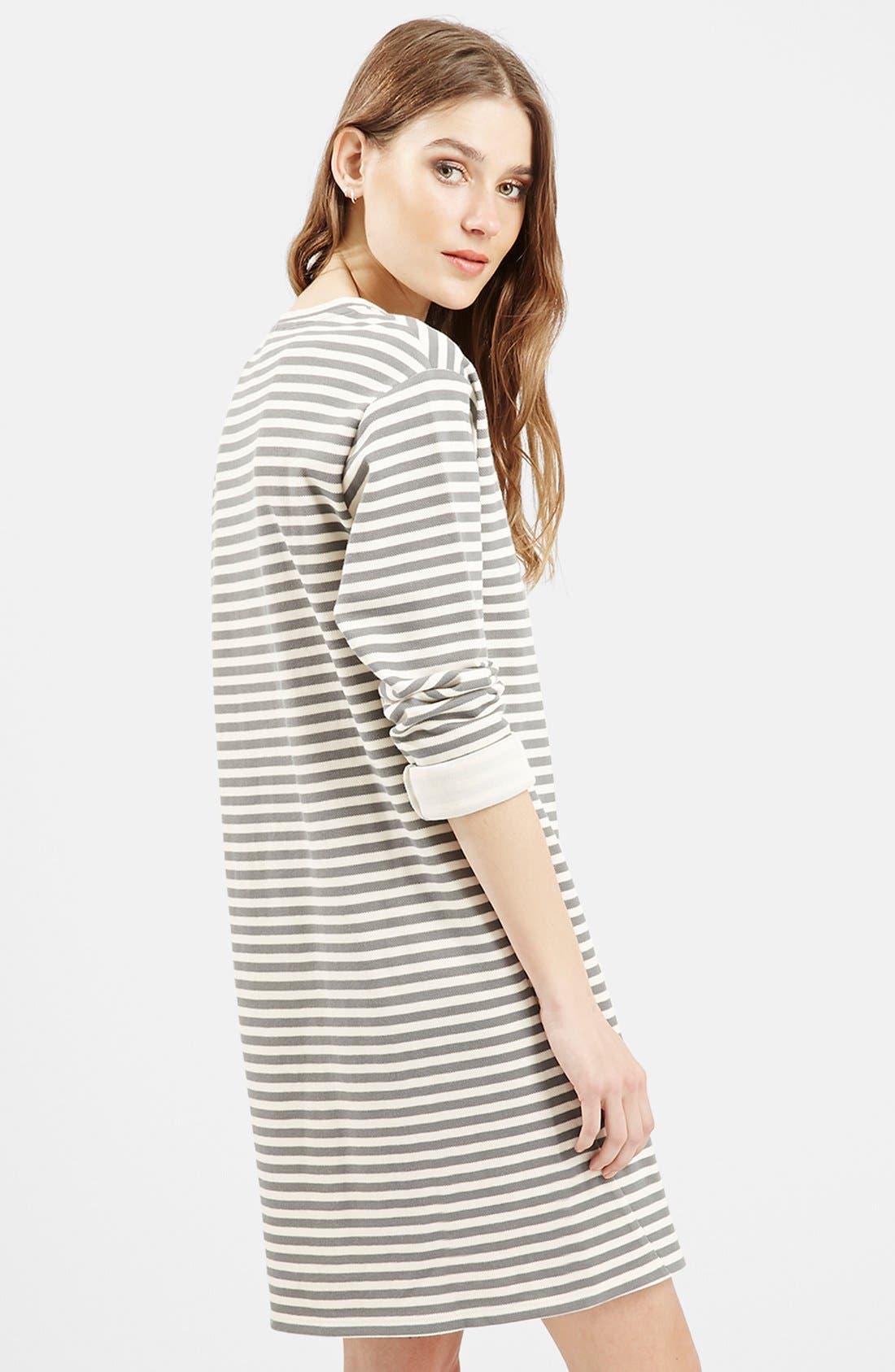 Stripe Sweater Dress,                             Alternate thumbnail 4, color,                             001