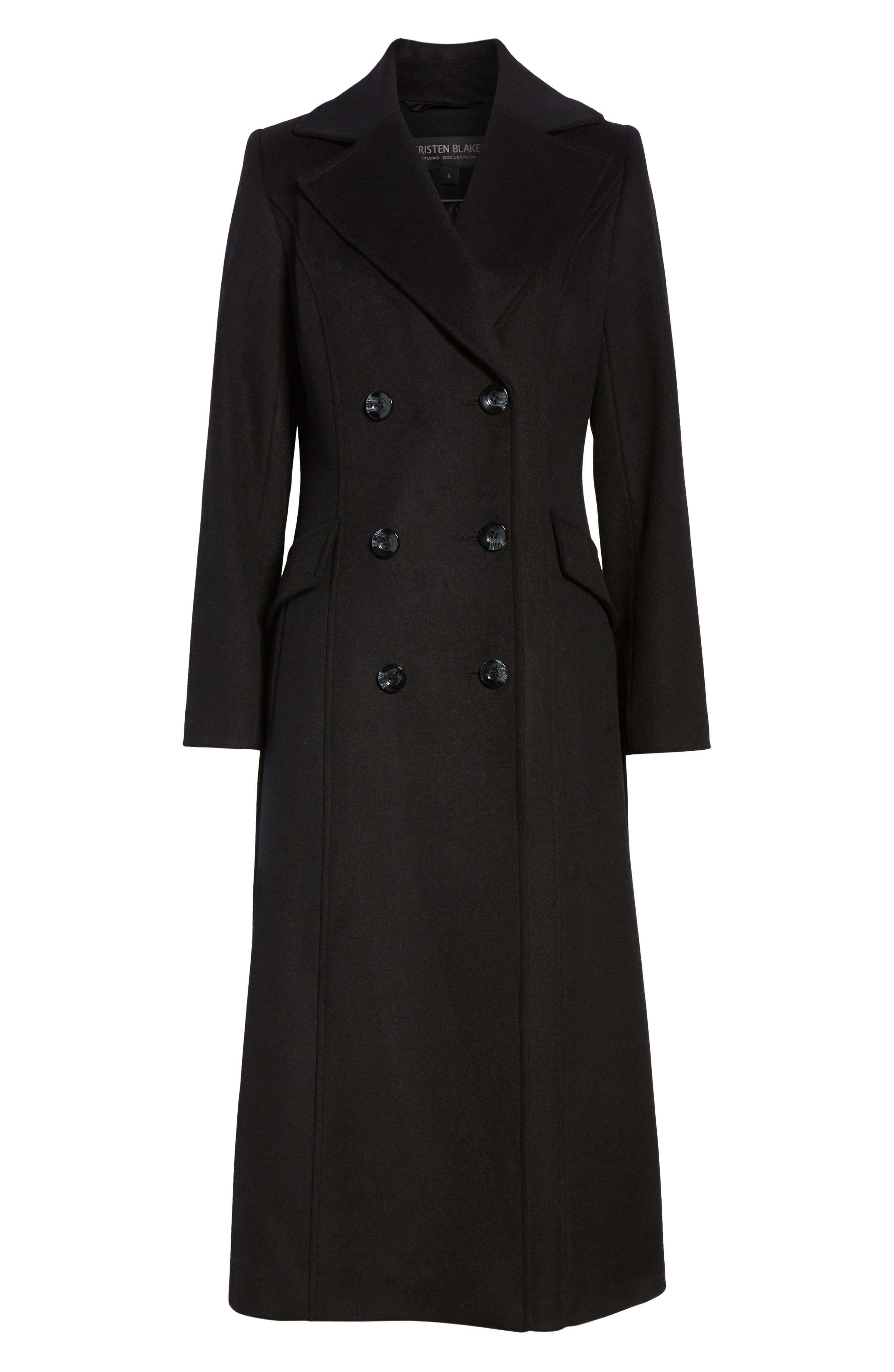 Double Breasted Long Wool Coat, Alternate, color, BLACK