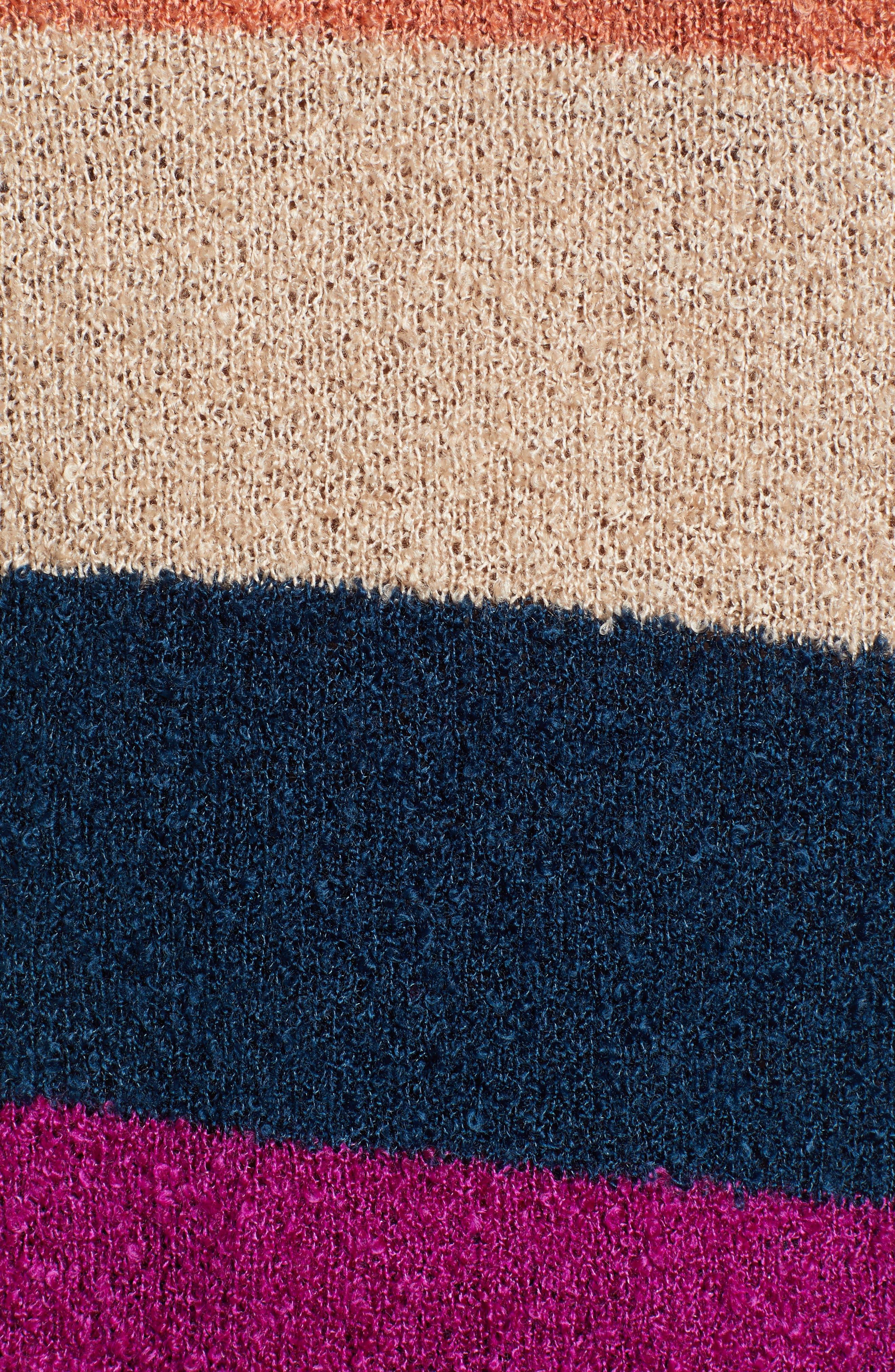 BP.,                             Stripe Bouclé Sweater,                             Alternate thumbnail 5, color,                             420